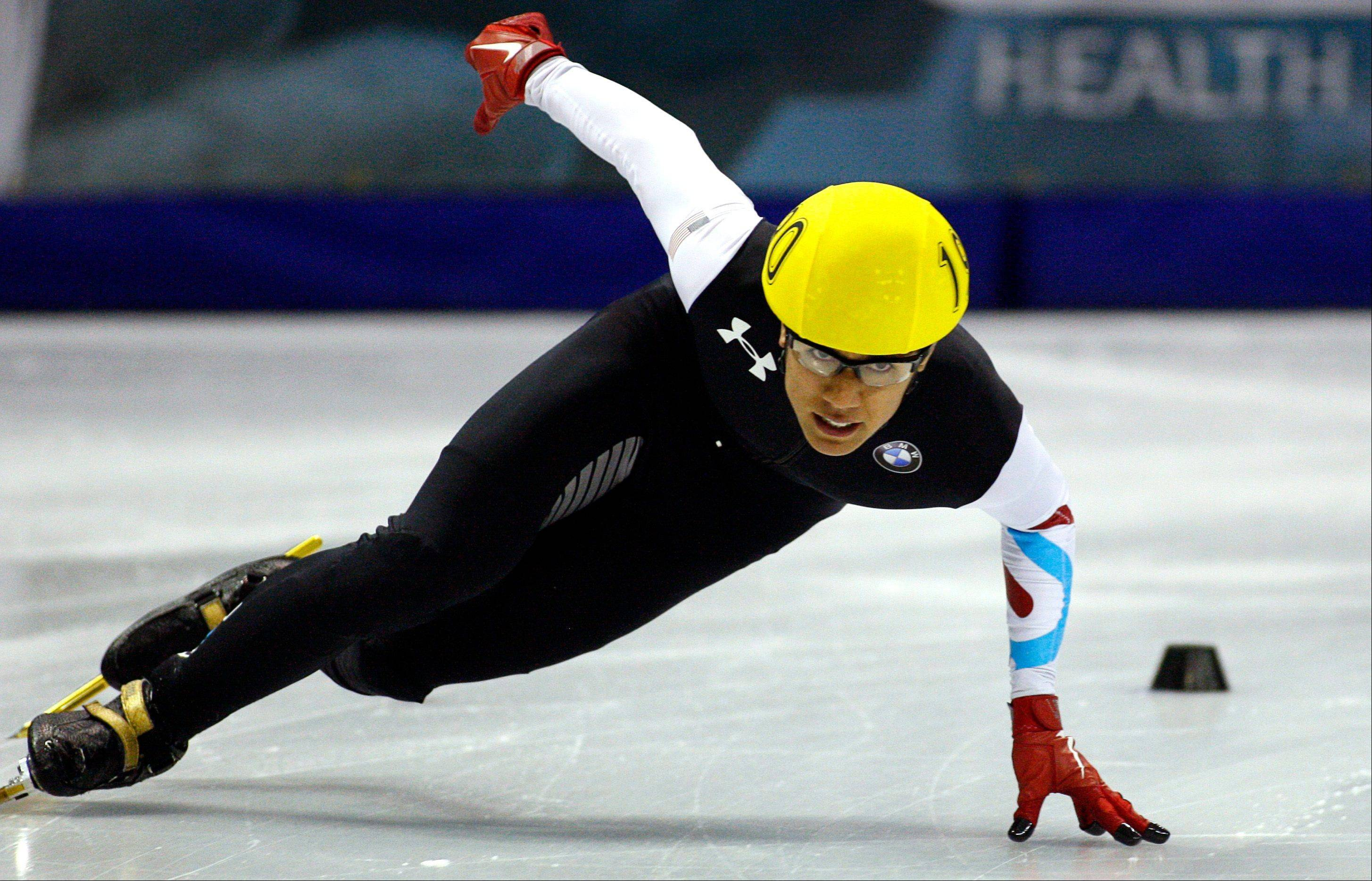 J.R. Celski of the U.S. skates for a gold medal Sunday during the men�s 500-meter competition at the ISU World Cup short track speed skating event in Calgary, Alberta.
