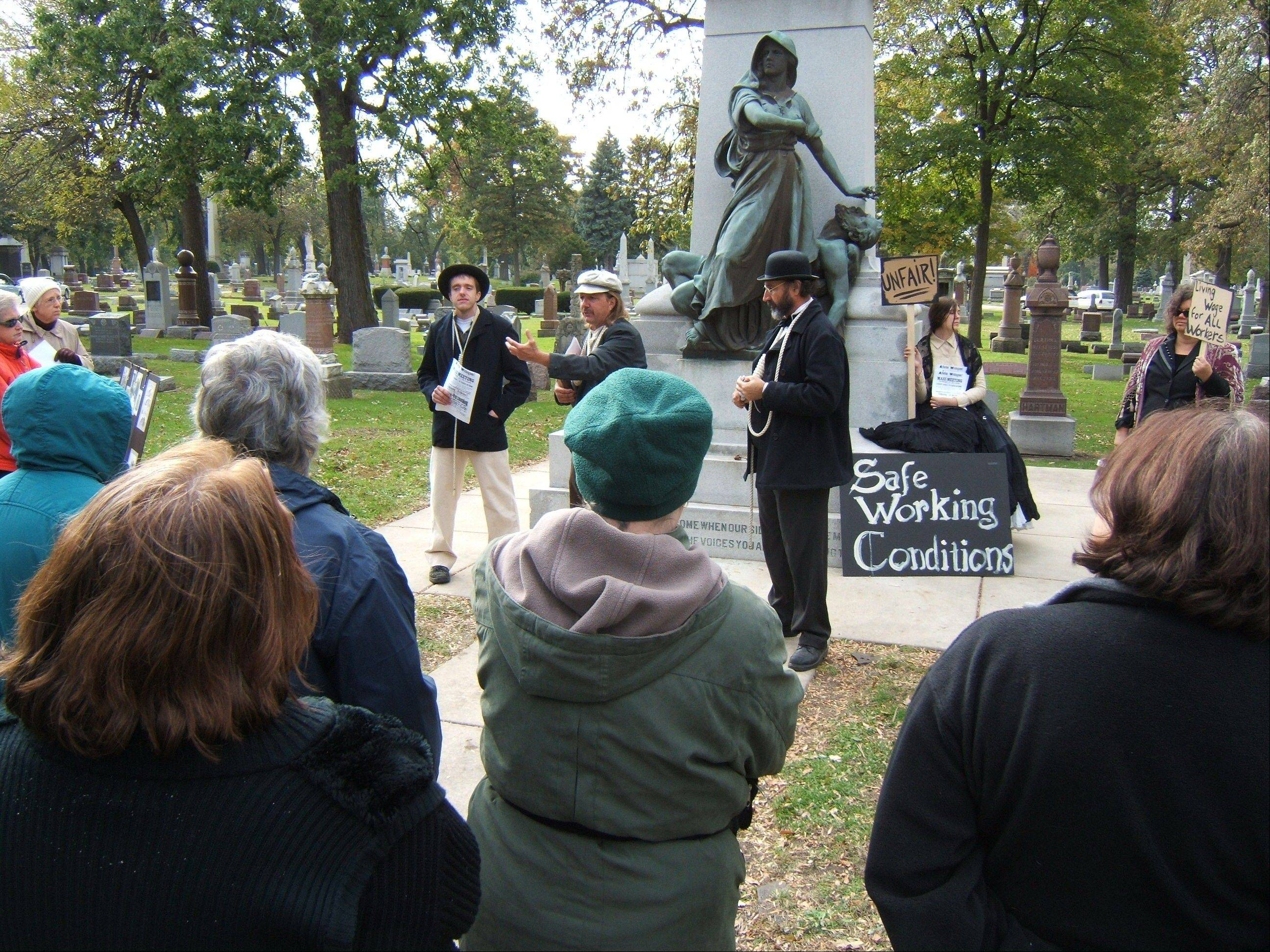 "Actors portray martyrs of the Haymarket riot in the The Historical Society of Oak Park and River Forest's ""Tale of the Tombstones."" The 21st annual walking tour is set for Sunday, Oct. 21."