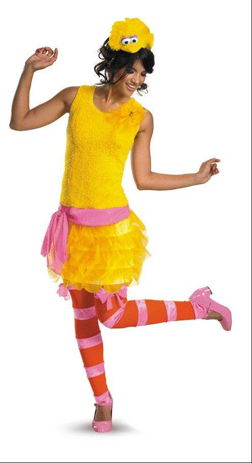 A woman models a variation of Big Bird costume.