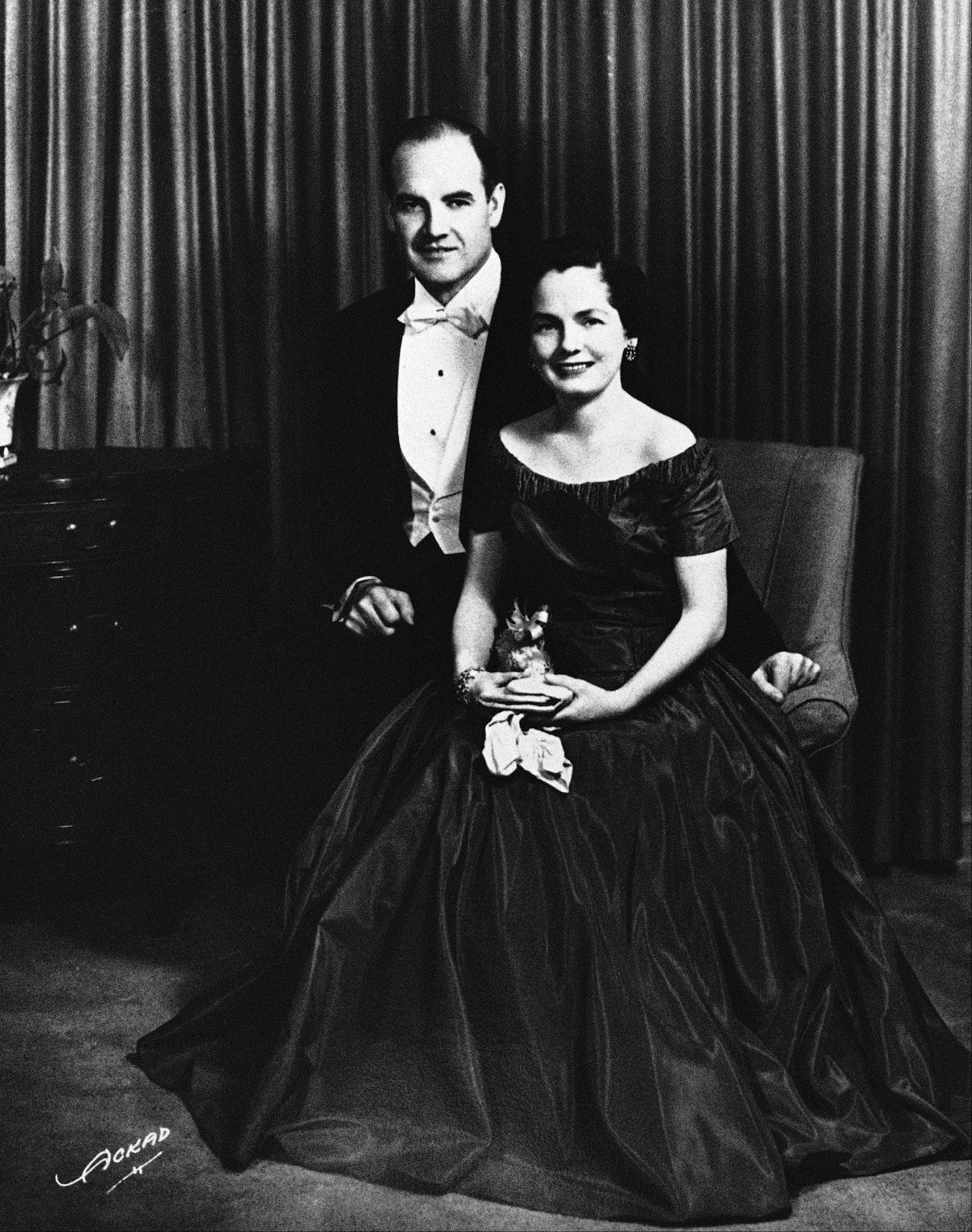 George McGovern and his wife Eleanor dressed to attend their first inaugural ball in Washington in 1957.