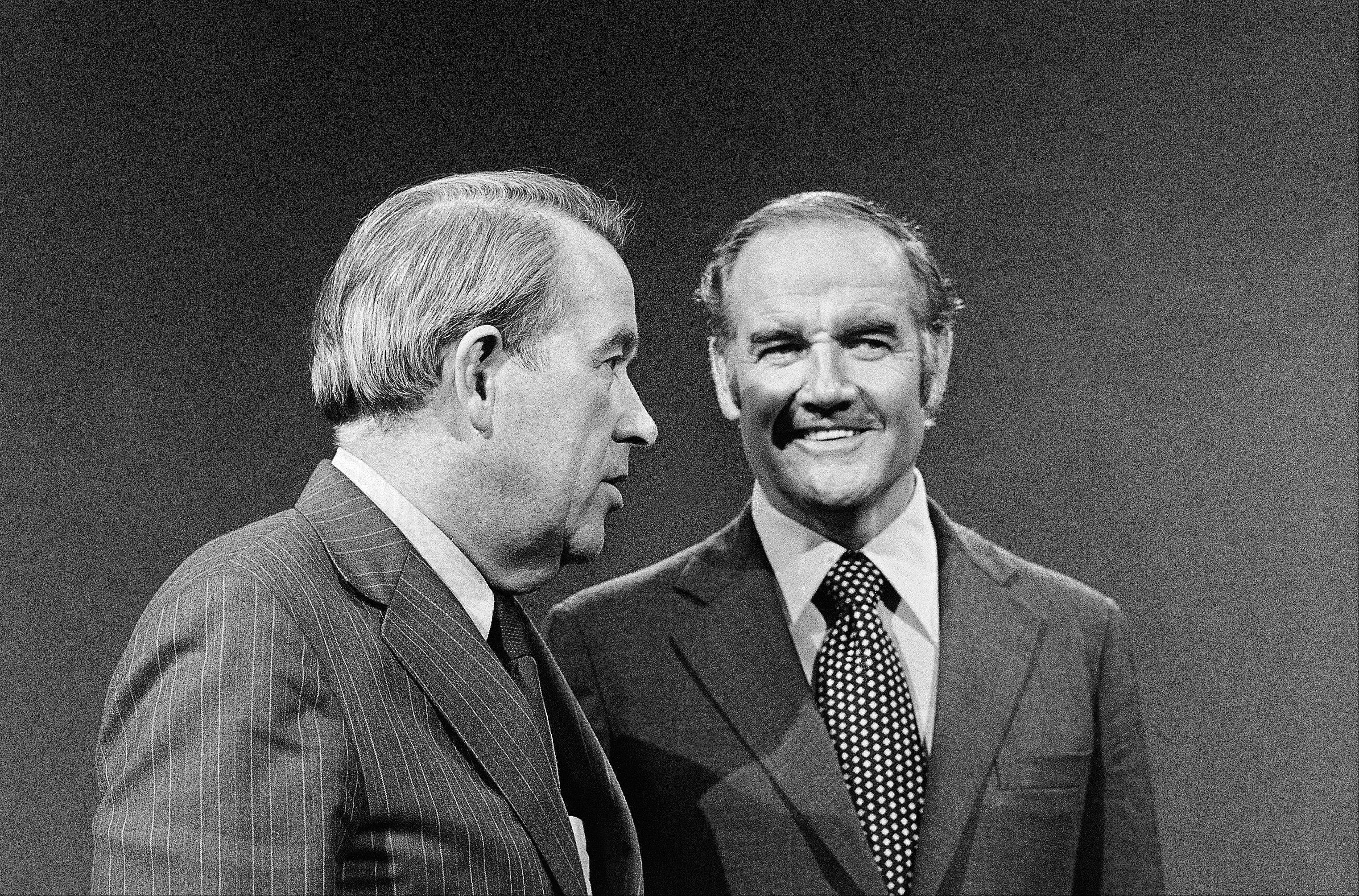 Washington's Sen. Henry M. Jackson, left, talks with Democratic presidential candidate Sen. George McGovern in Seattle, Saturday, Oct. 30, 1972. They appeared at a McGovern telethon and rally. It was McGovern�s fourth visit to Seattle, but the first time Jackson personally joined McGovern.