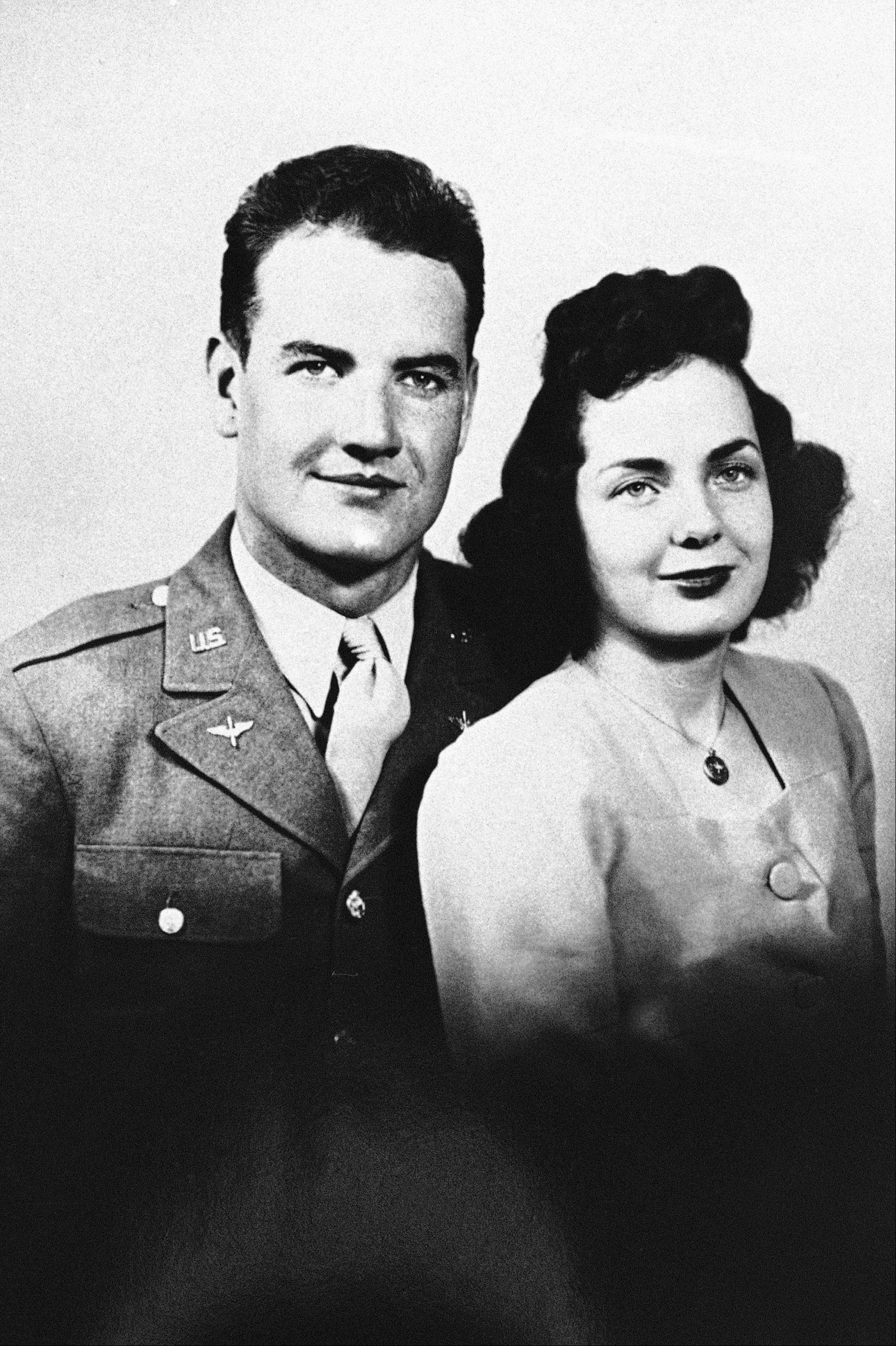 George McGovern and his wife Eleanor in their wedding photo in 1943.