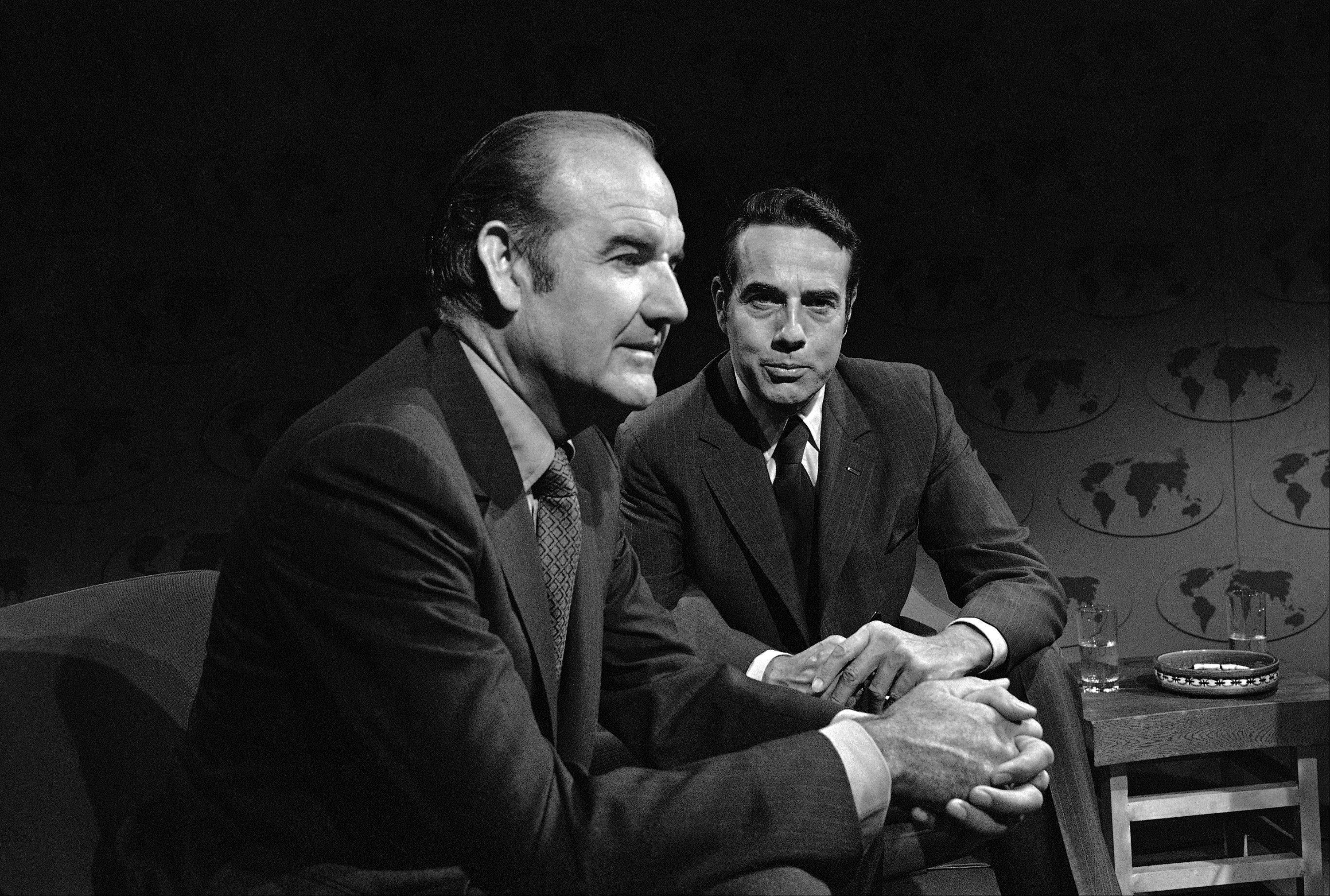 "Sen. George McGovern, left, and Robert Dole are interviewed on ABC's ""Issues and Answers"" in Washington on August 23, 1970. McGovern said polls taken in the United States and South Vietnam showed a majority support his amendment to and the war on a definite timetable. Dole opposes the McGovern plane."