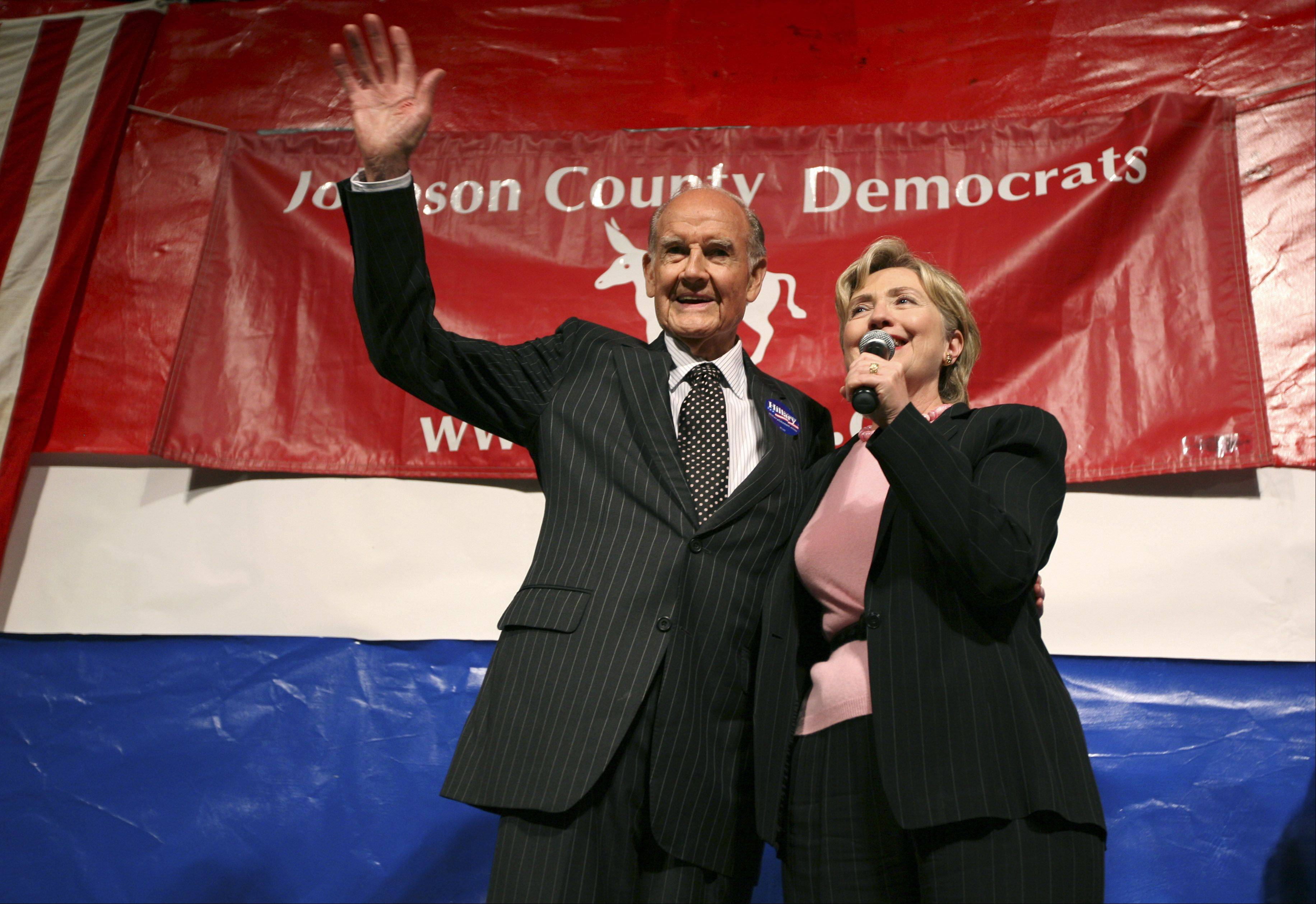 Democratic presidential hopeful, Sen. Hillary Rodham Clinton, D-N.Y., stands with former Democratic presidential candidate George McGovern before speaking at the Johnson County Democrats' annual barbecue, Saturday, Oct. 6, 2007, in Iowa City, Iowa.