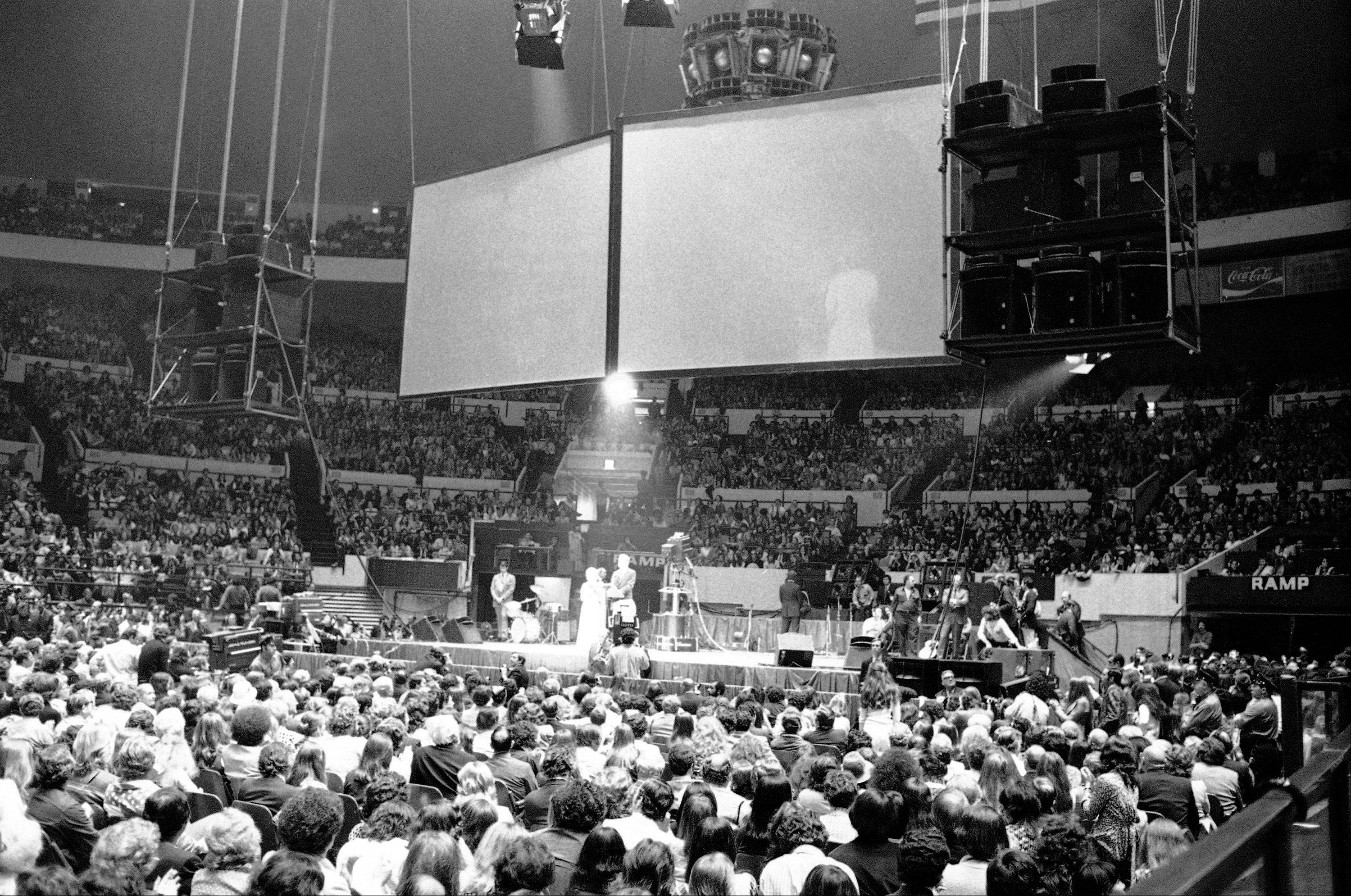 Sen. George McGovern, at center, addresses rally at New York�s Madison Square Garden, June 14, 1972. Crowd of about 20,000 was on hand to hear McGovern and to be entertained by various performers. McGovern is campaigning for the Democratic primary to be held in New York on June 20.