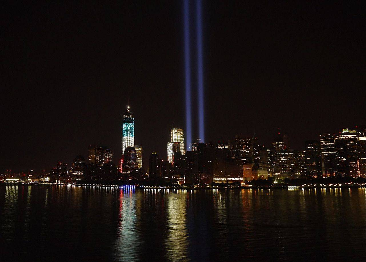 Steve Jacobs of Winfield says this photo was taken as his Disney cruise ship was returning to port in the early morning hours of Sept. 12. It shows the beams of light for the Sept. 11 memorial and the new memorial tower under construction.