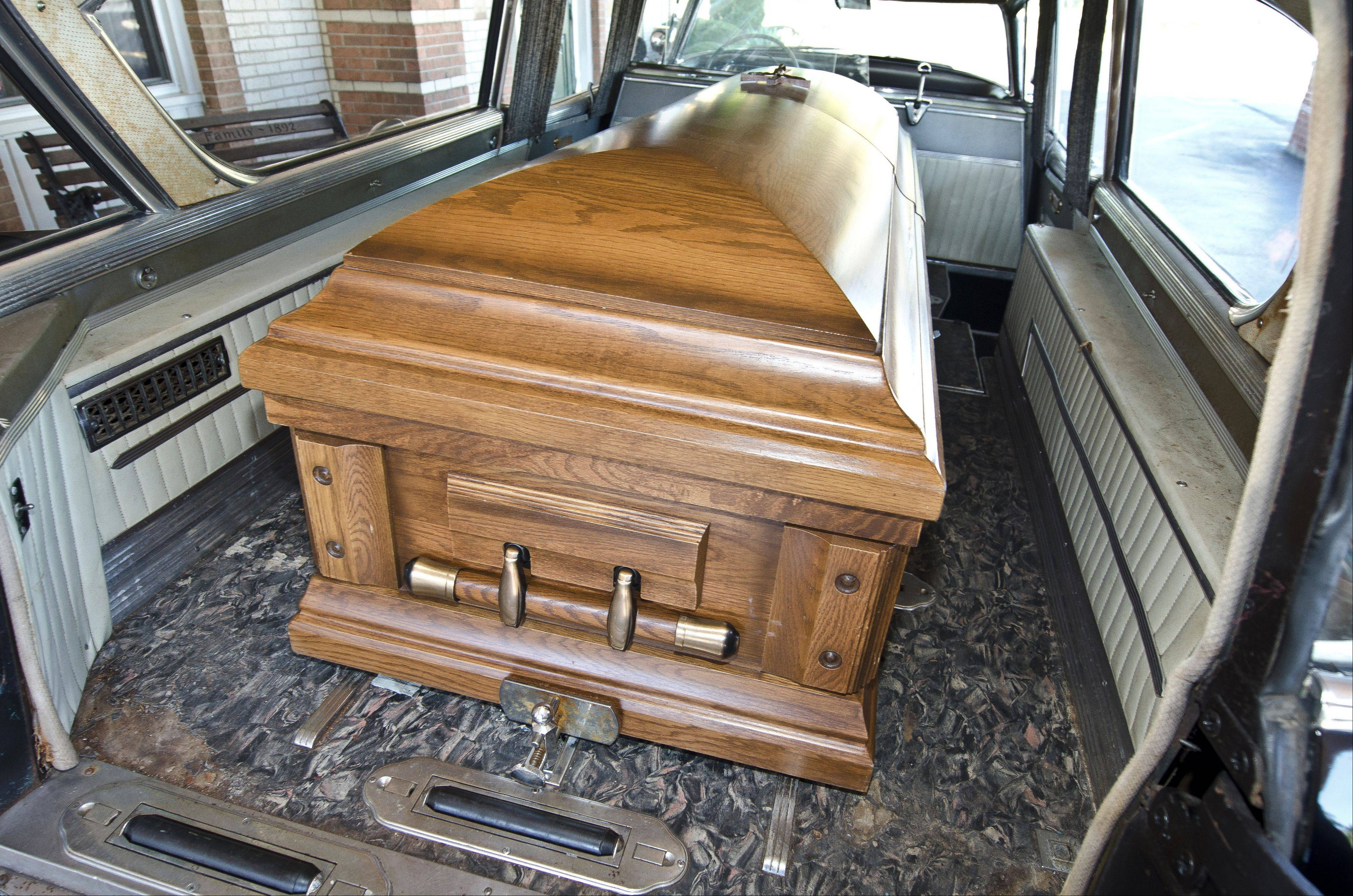 The Ahlgrims have a coffin they keep in the hearse for Halloween, cruise nights and other special occasions.