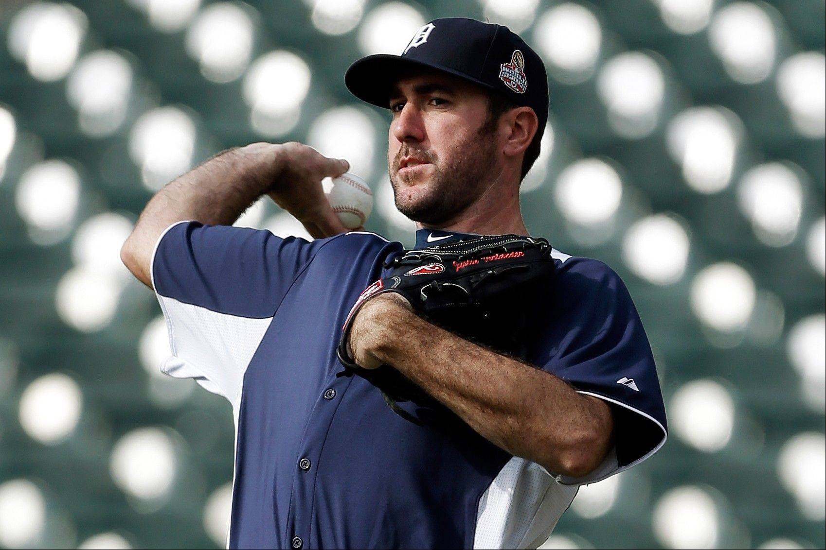 Detroit Tigers pitcher Justin Verlander throws during a workout Monday at Comerica Park in Detroit. He'll start Game 1 of the World Series against San Francisco.