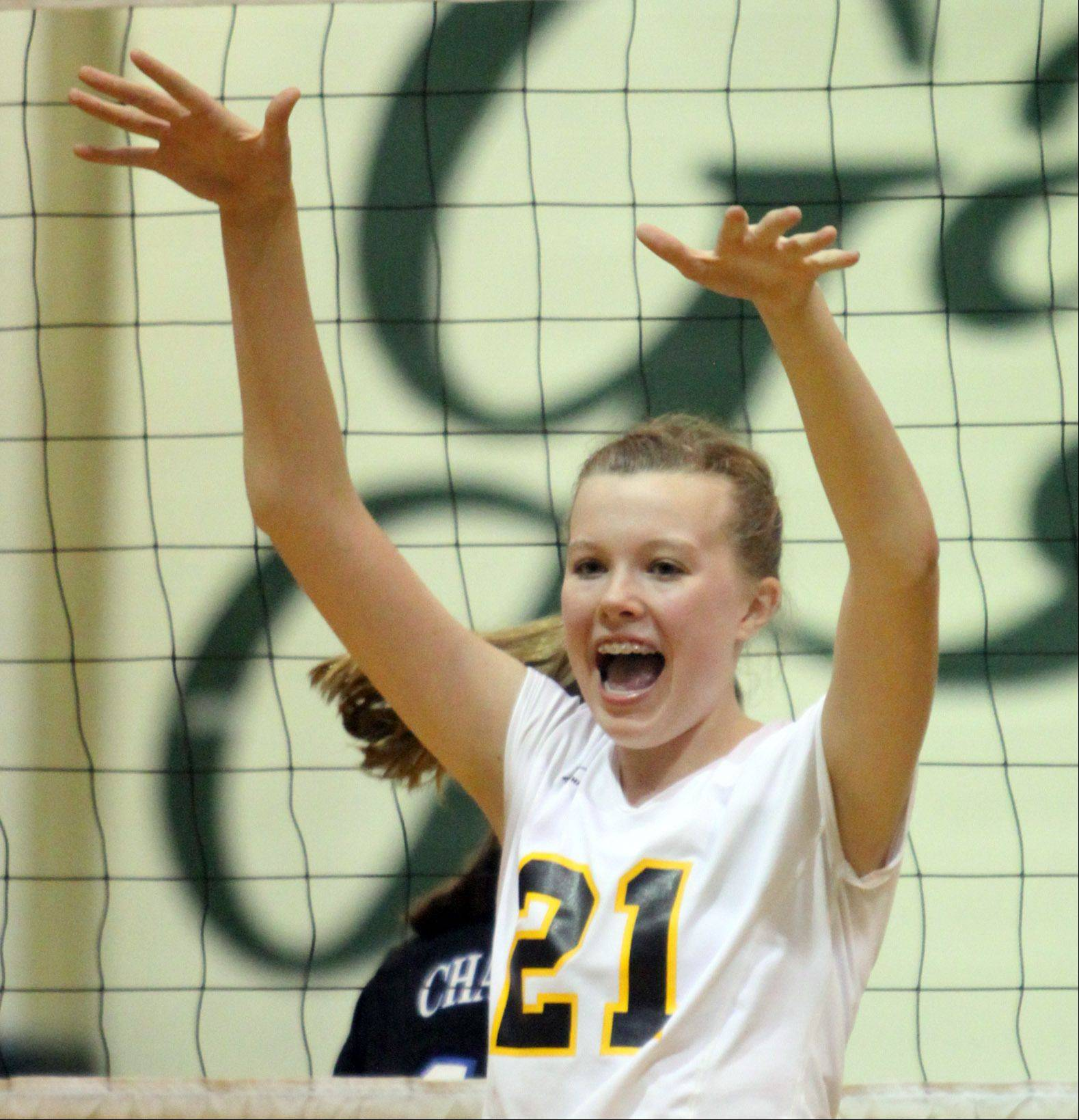 Jacobs' Bridget Wallenberger celebrates a victory over Dundee-Crown in a regional game at Crystal Lake South High School on Monday night.