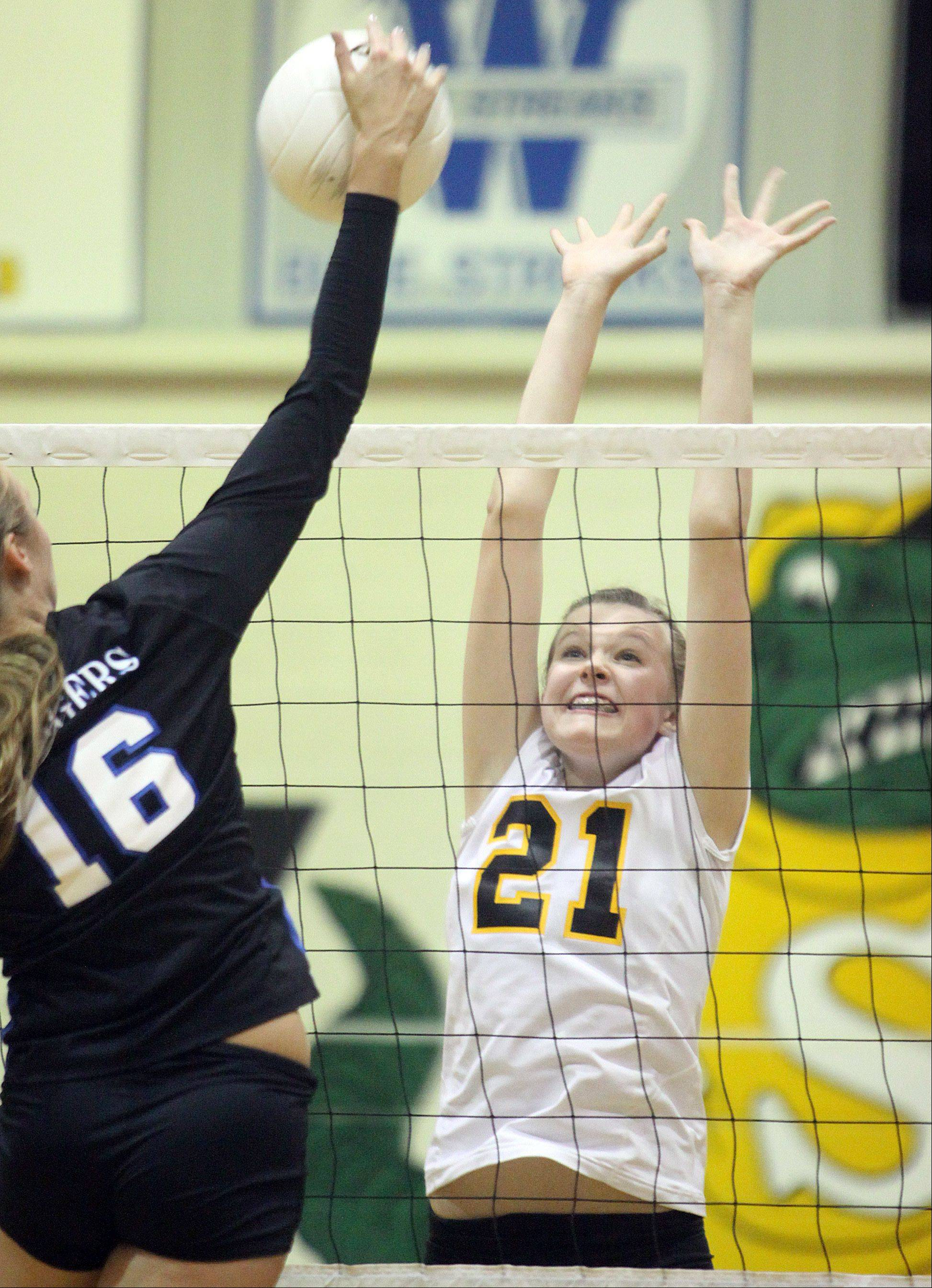 Jacobs' Bridget Wallenberger, right, prepares to block against Dundee-Crown's Kathryn Novy, left, during a regional game at Crystal Lake South High School on Monday night.