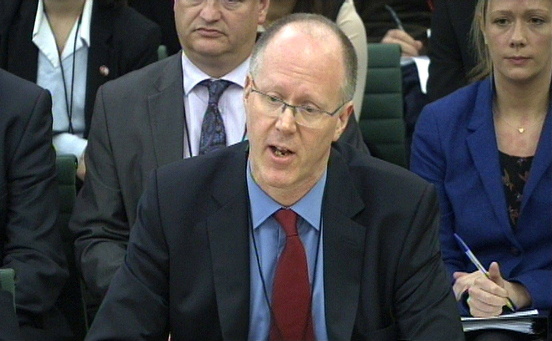 BBC Director General George Entwistle gives evidence to the Culture, Media and Sport select committee in the House of Commons, London, Tuesday Oct. 23, 2012. The BBC chief says allegations about decades of sexual abuse by its longtime TV host Jimmy Savile, and the broadcaster�s failure to stop him, constitute a �very grave� crisis for the venerable organization. Entwistle told British lawmakers on Tuesday that it is too early to say whether sexual abuse was endemic within Britain�s publicly funded national broadcaster in previous decades.