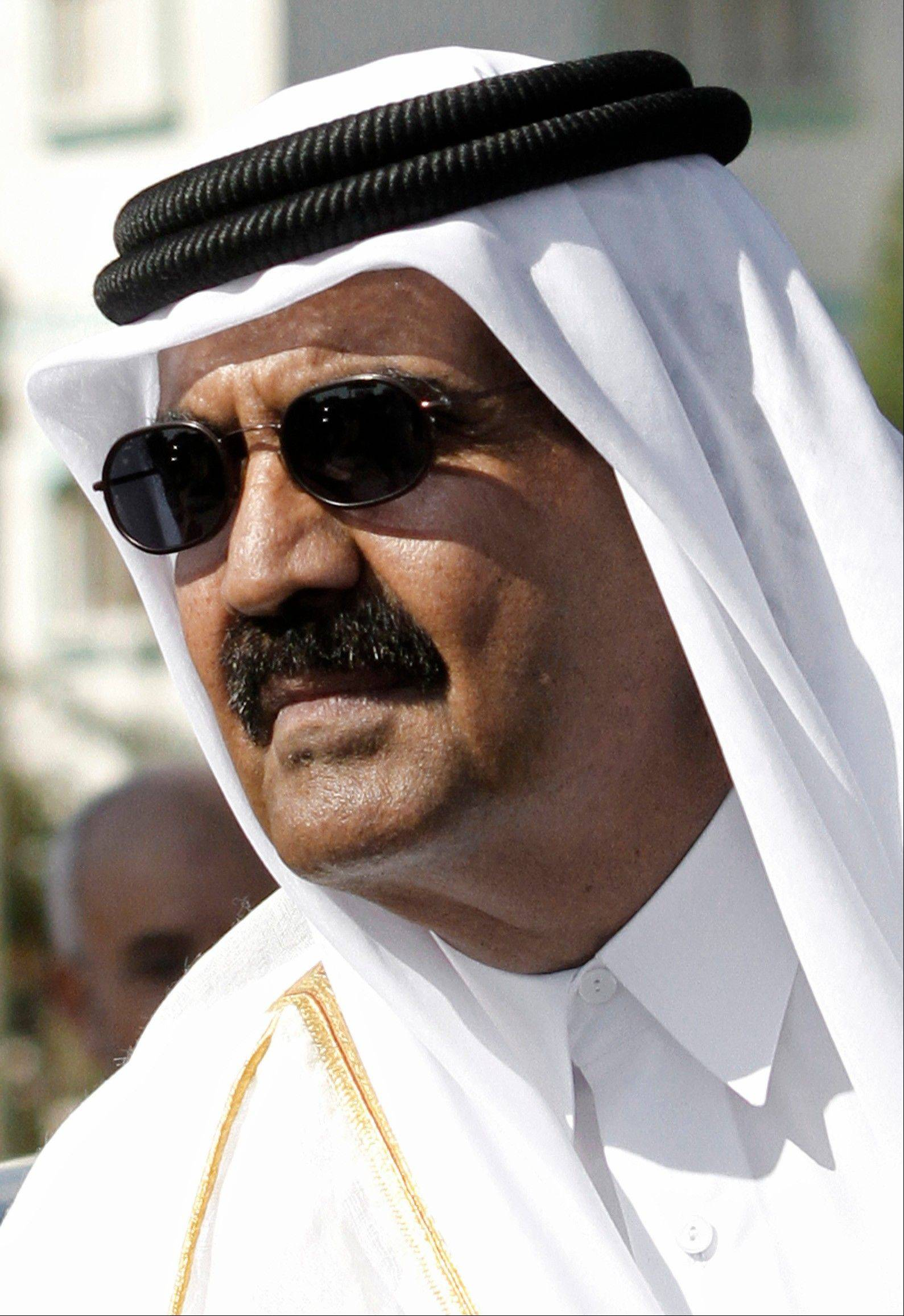 Emir of Qatar Sheikh Hamad bin Khalifa al-Thani arrives for cornerstone laying ceremony of a Qatari funded rehabilitation center in Gaza City, Tuesday, Oct. 23, 2012. The emir of Qatar received a hero�s welcome in Gaza on Tuesday, becoming the first head of state to visit the Palestinian territory since the Islamist militant Hamas seized control there in 2007.