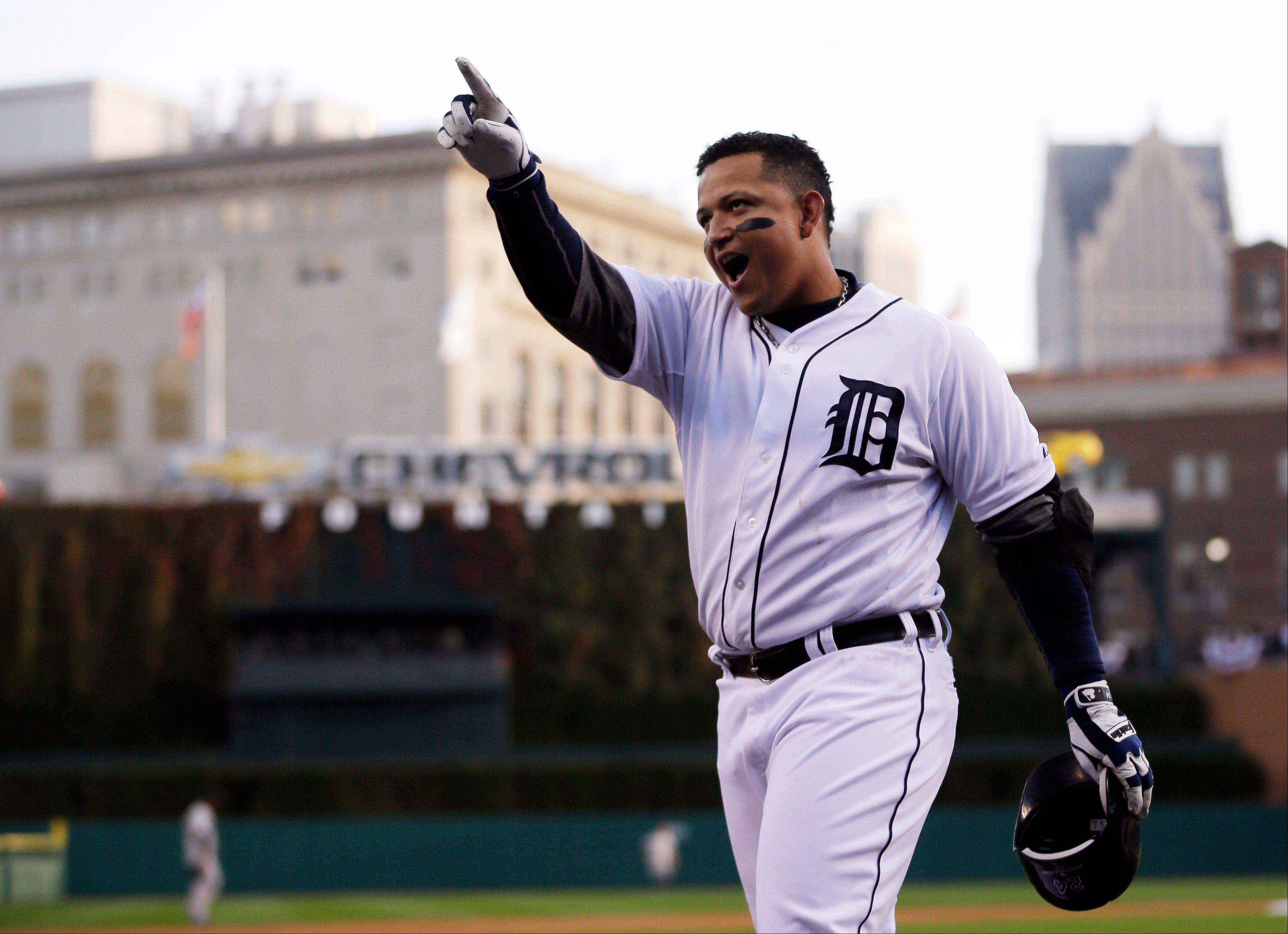 Detroit Tigers� Miguel Cabrera celebrates after hitting a two-run home run in the fourth inning during Game 4 of the American League championship series against the New York Yankees Thursday, Oct. 18, 2012, in Detroit.