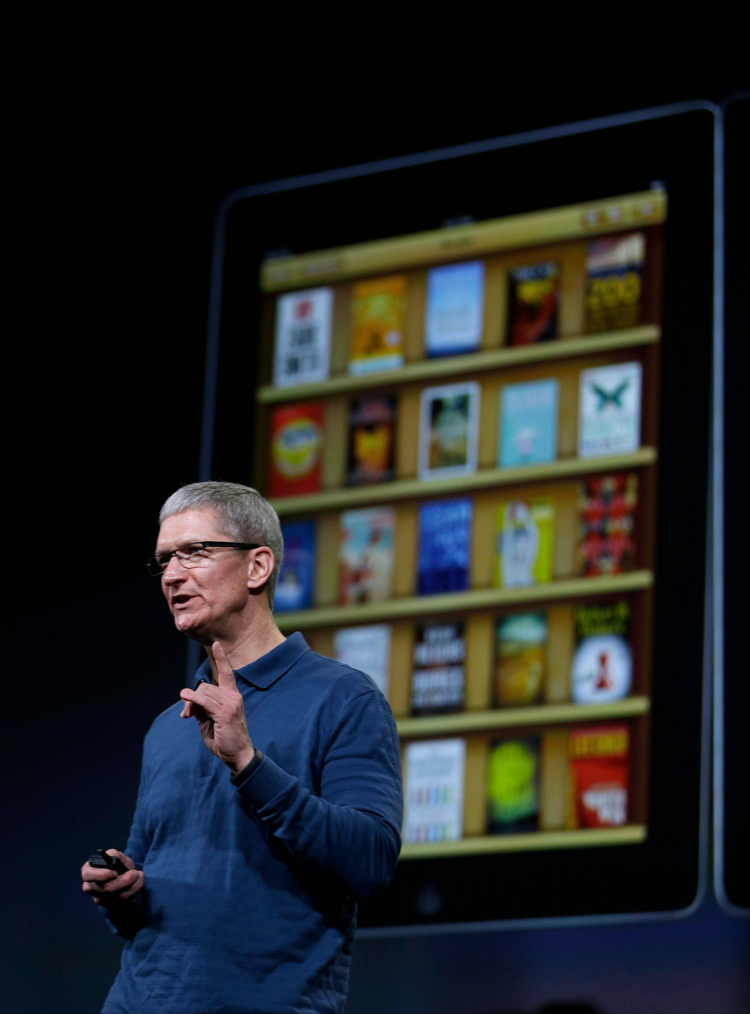 Apple CEO Tim Cook speaks during an event to announce new products in San Jose, Calif., Tuesday.