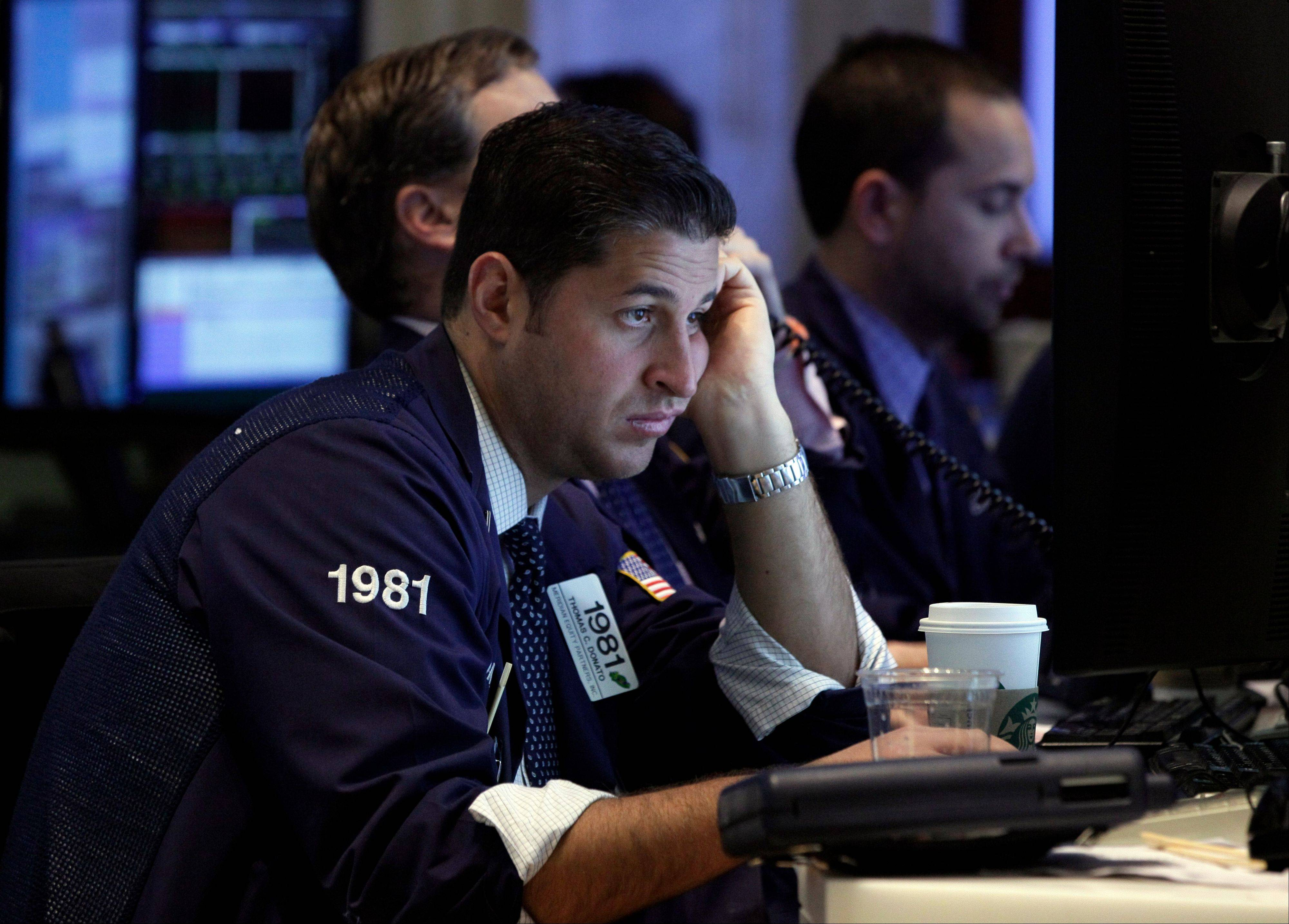 U.S. stocks retreated, giving the Dow Jones Industrial Average its biggest decline since June, amid disappointing results at companies from 3M Co. to DuPont Co. and as commodities erased their gain for the year.