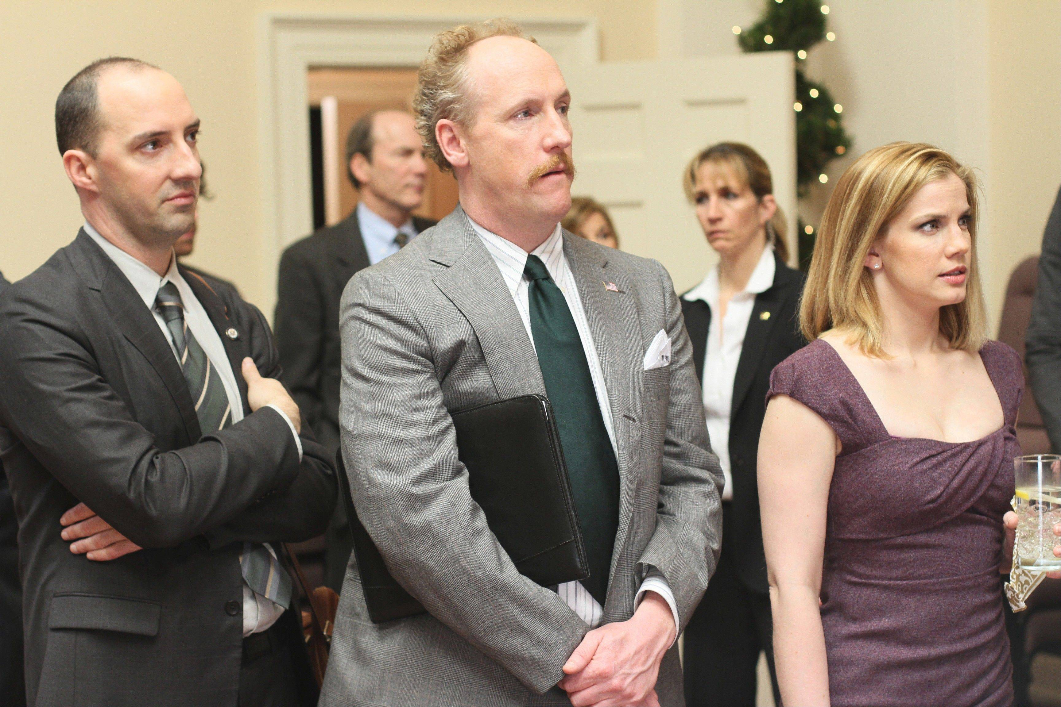 "Comedian, writer and producer Matt Walsh, center, stars in HBO's ""Veep"" with Tony Hale and Anna Chlumsky. Walsh grew up in Darien and records the ""Bear Down Podcast"" with friends and fellow Chicago comedians in Los Angeles. Visit dailyherald.com/more to see trailers featuring Walsh and for a link to the podcast."