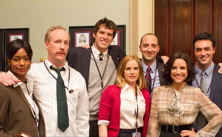 "Darien native Matt Walsh, second from left, is part of the cast of HBO's ""Veep,"" which was recently renewed for a second season."