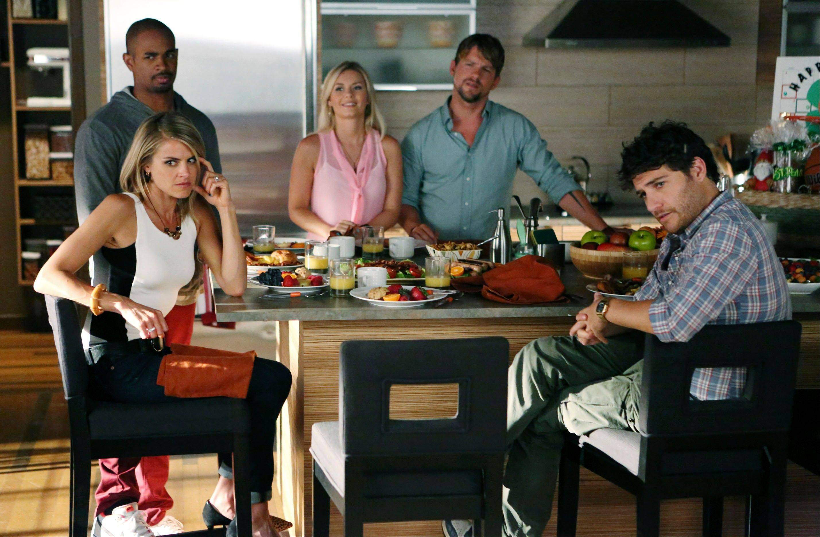 "The new season of ABC's ""Happy Endings"" -- starring Eliza Coupe, left, Damon Wayans Jr., Elisha Cuthbert, Zachary Knighton and Adam Pally -- premieres at 8 p.m. Tuesday, Oct. 23."