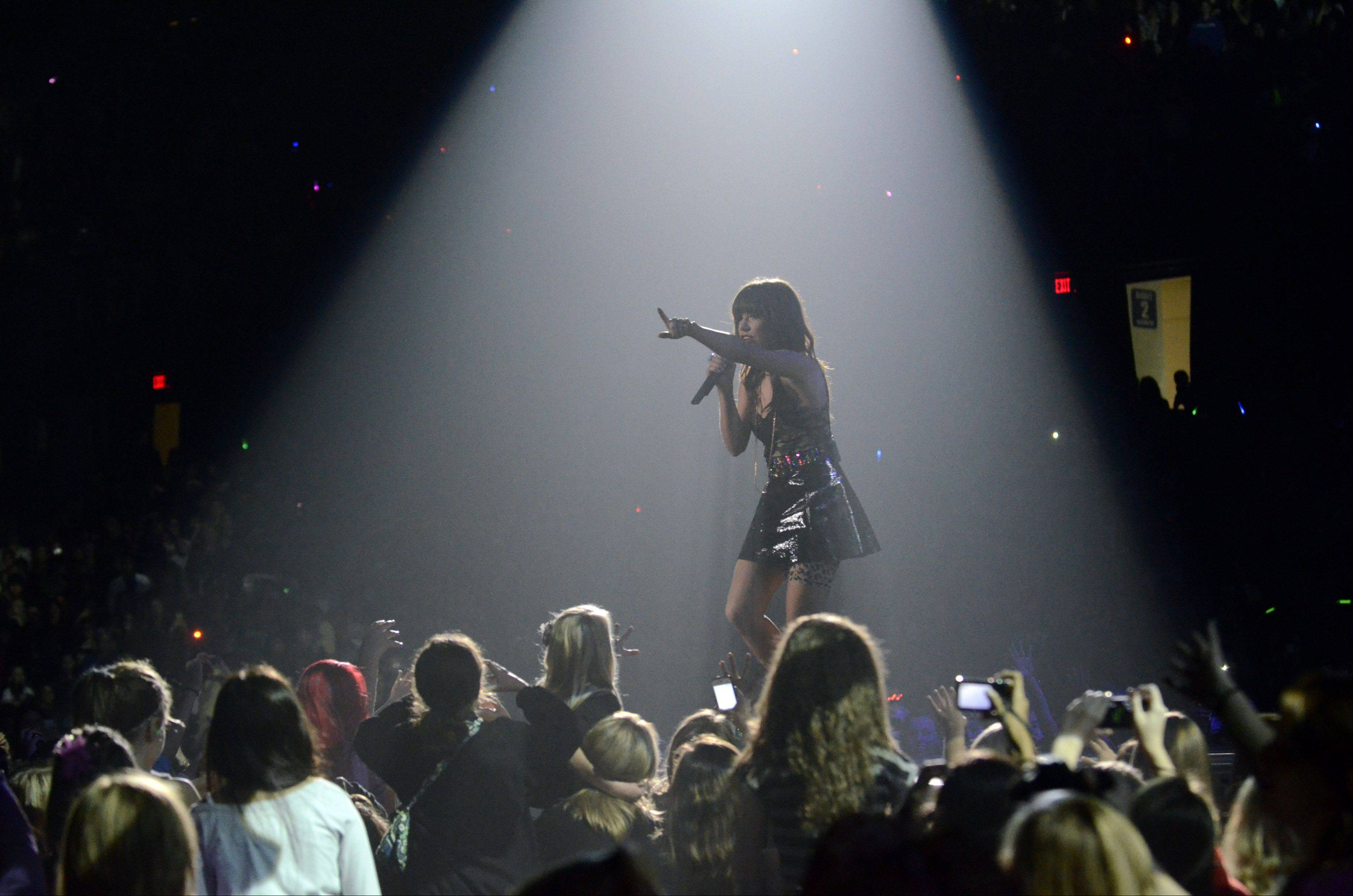 Carly Rae Jepsen performs as part of Justin Bieber's Believe tour at the Allstate Arena in Rosemont on Tuesday, October 23, 2012.