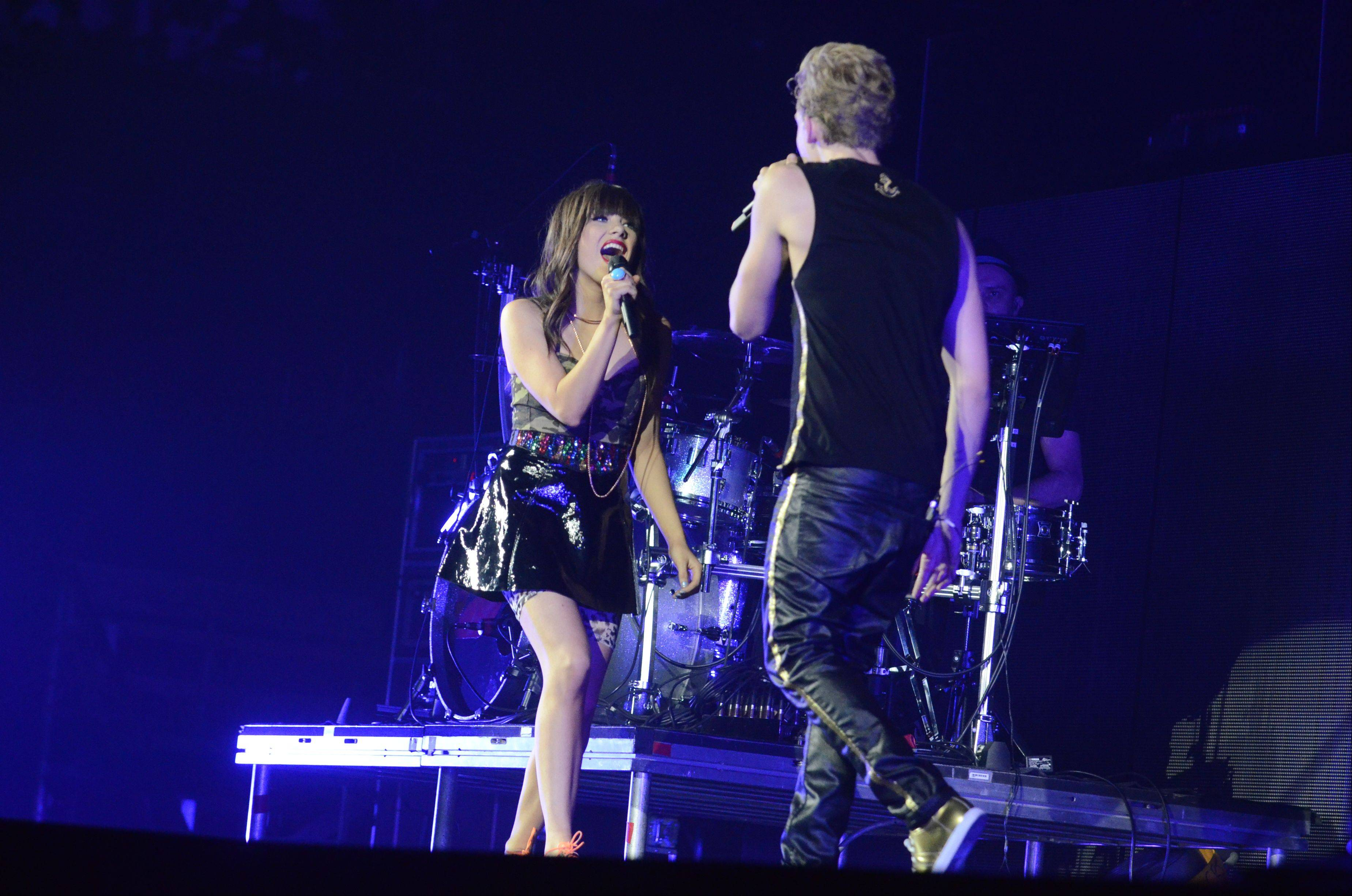 Carly Rae Jepsen and Cody Simpson perform as part of Justin Bieber's Believe tour at the Allstate Arena in Rosemont on Tuesday, October 23, 2012.