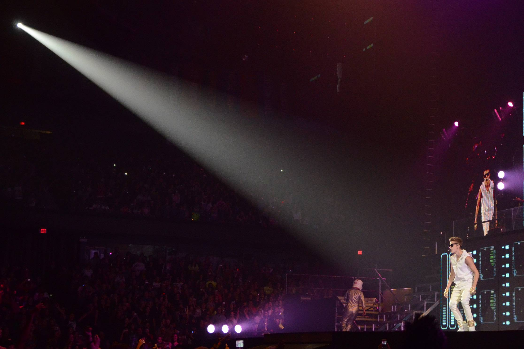 Justin Bieber performs at the Allstate Arena Tuesday night in Rosemont.