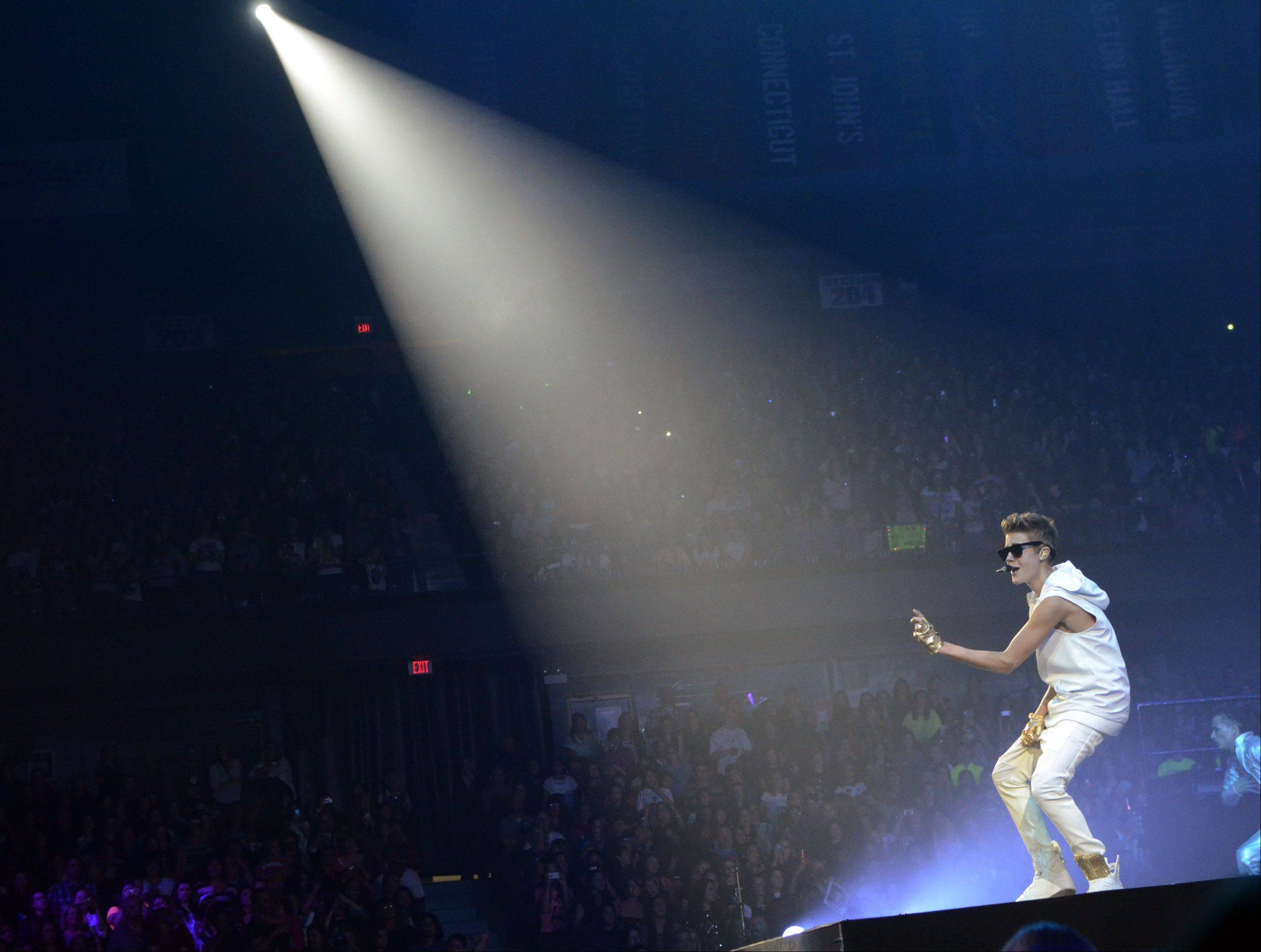 Justin Bieber performs during his Believe tour at the Allstate Arena in Rosemont on Tuesday, October 23, 2012.