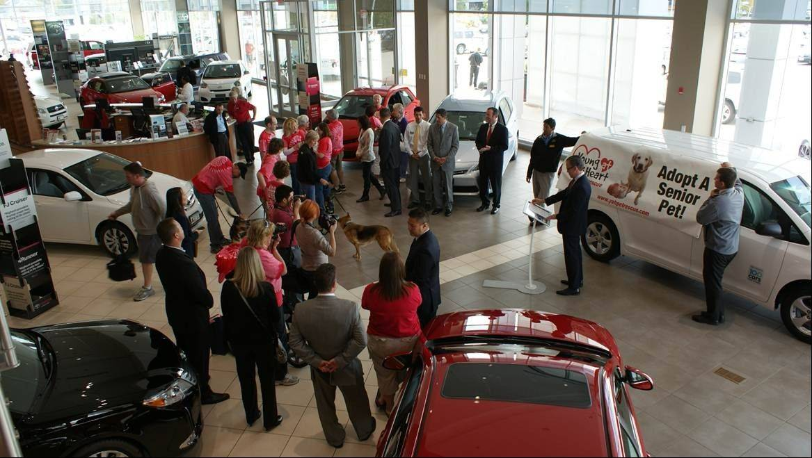 Toyota personnel and Young at Heart volunteers gather for the big giveaway event.