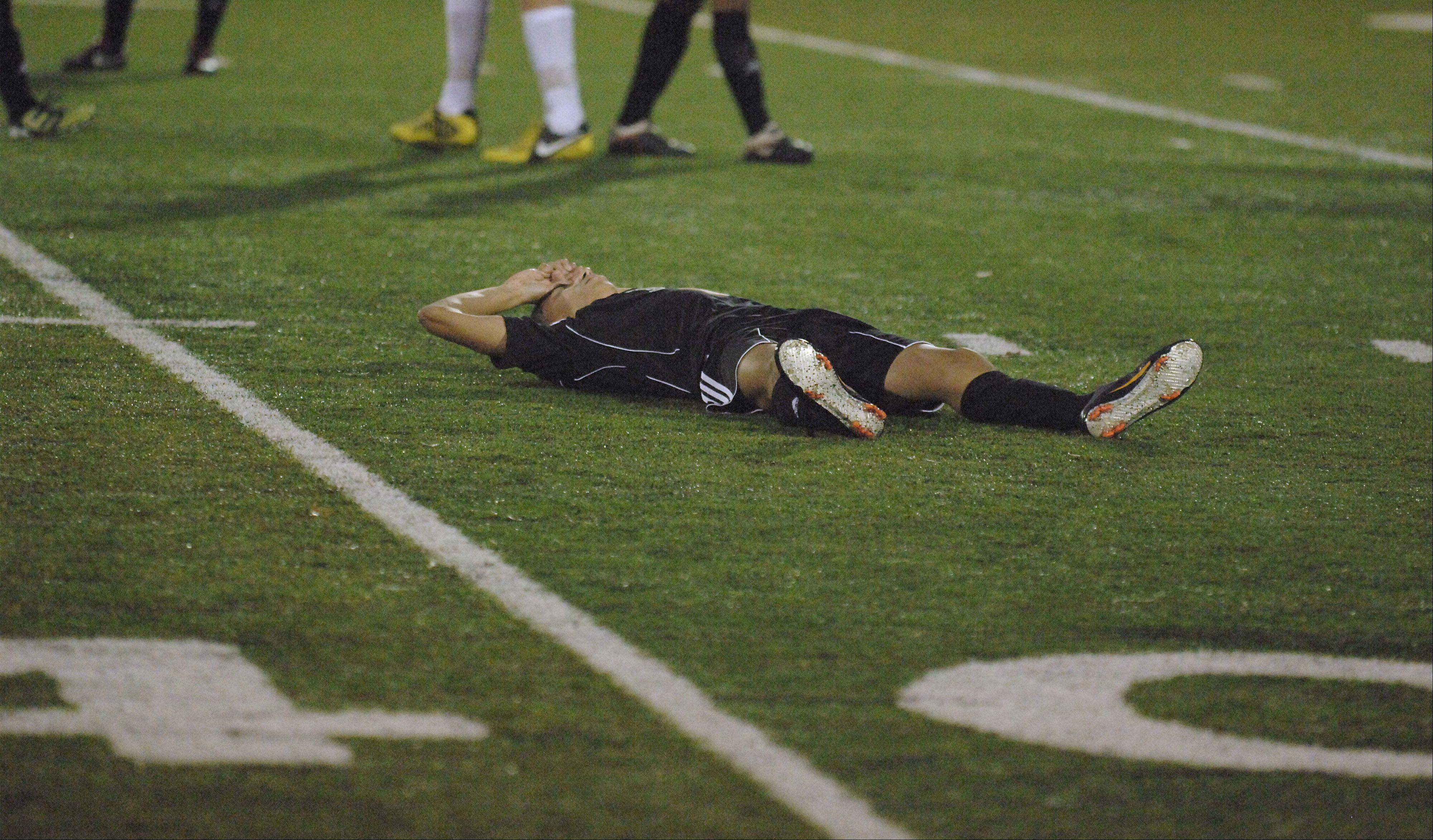 Streamwood's Ismael Diaz reacts to the Sabers' loss to St. Charles East on Tuesday, October 23.