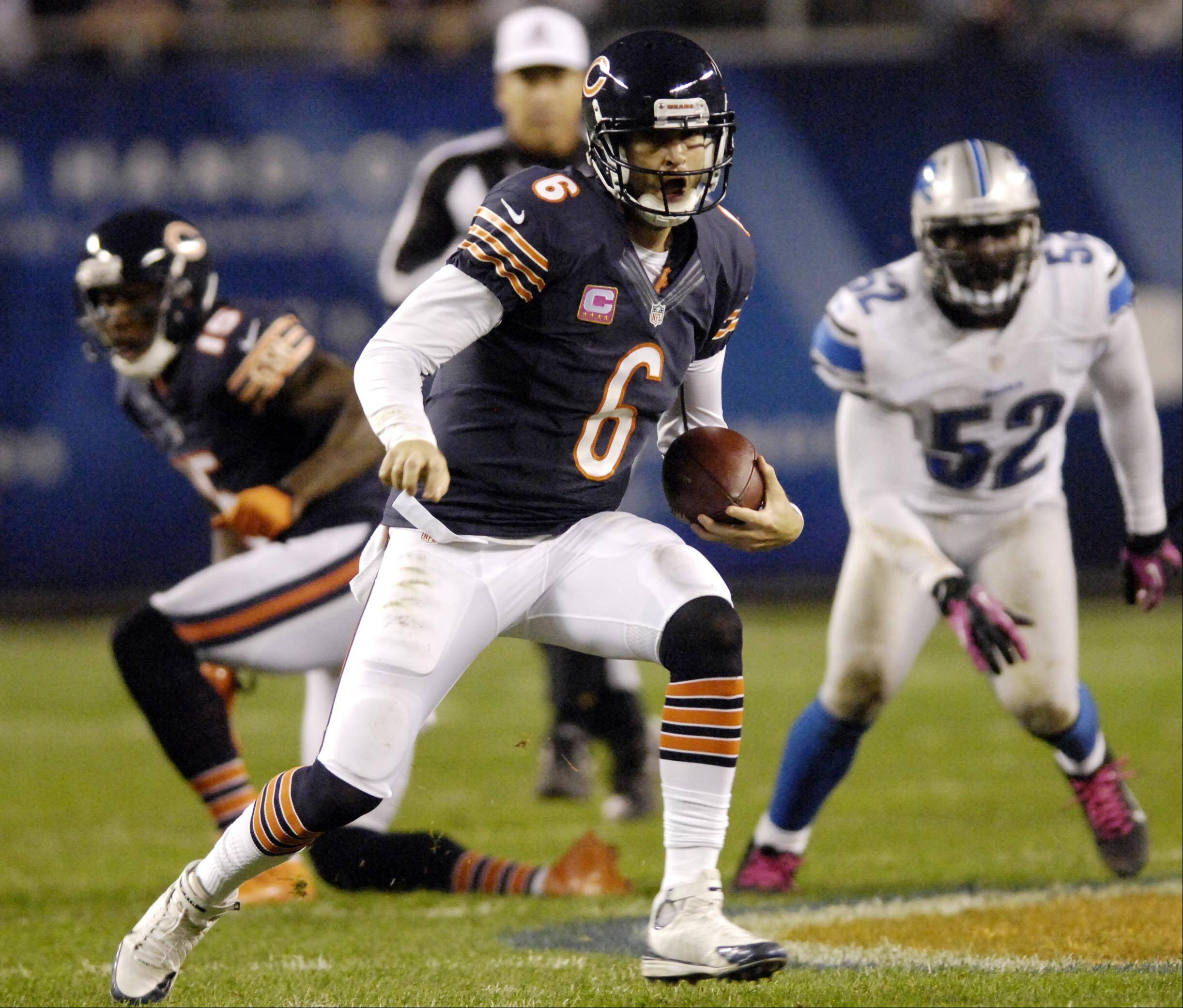 Chicago Bears quarterback Jay Cutler scrambles against the Detroit Lions.