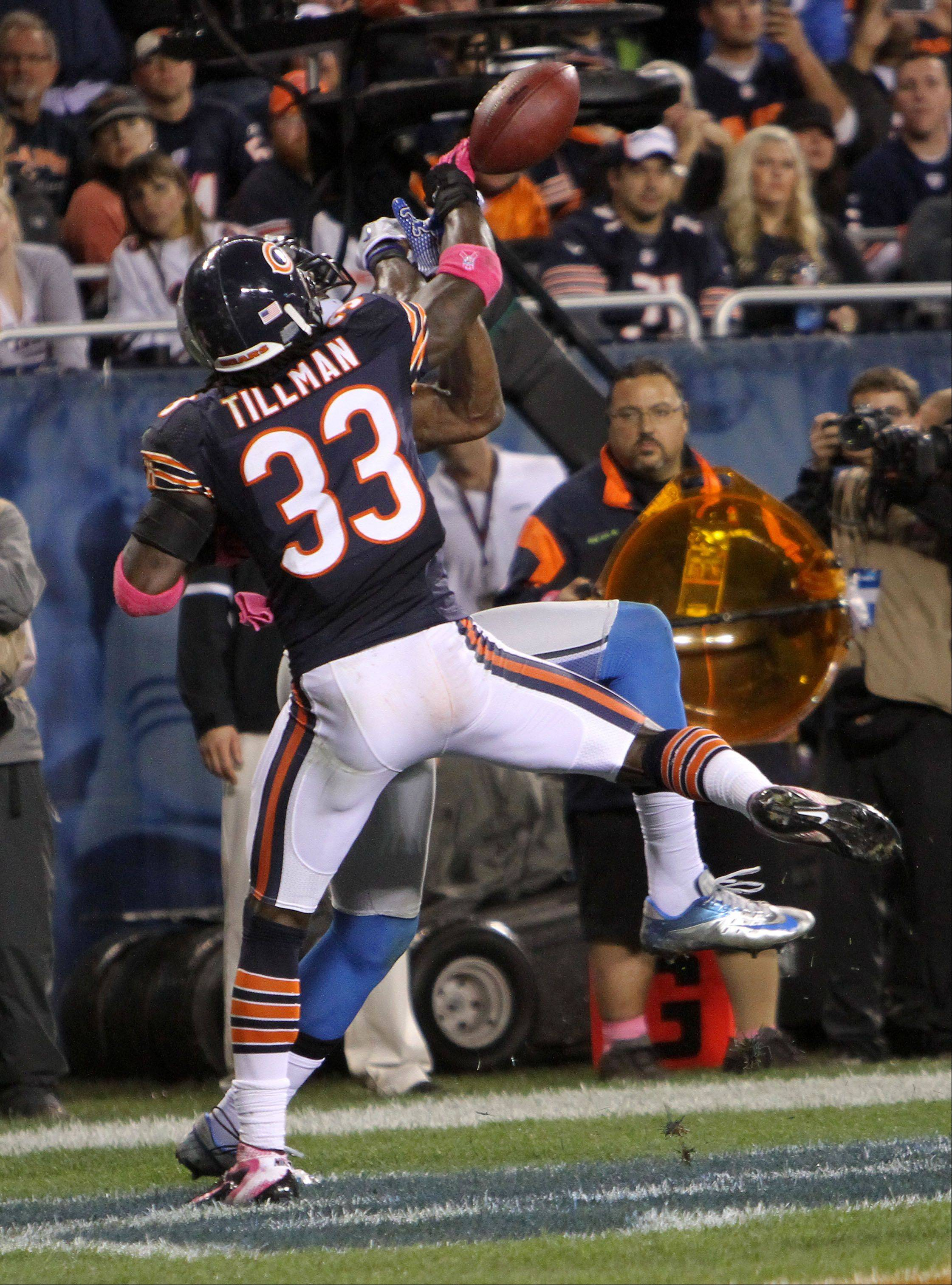 Chicago Bears cornerback Charles Tillman breaks up a pass play in the end zone.
