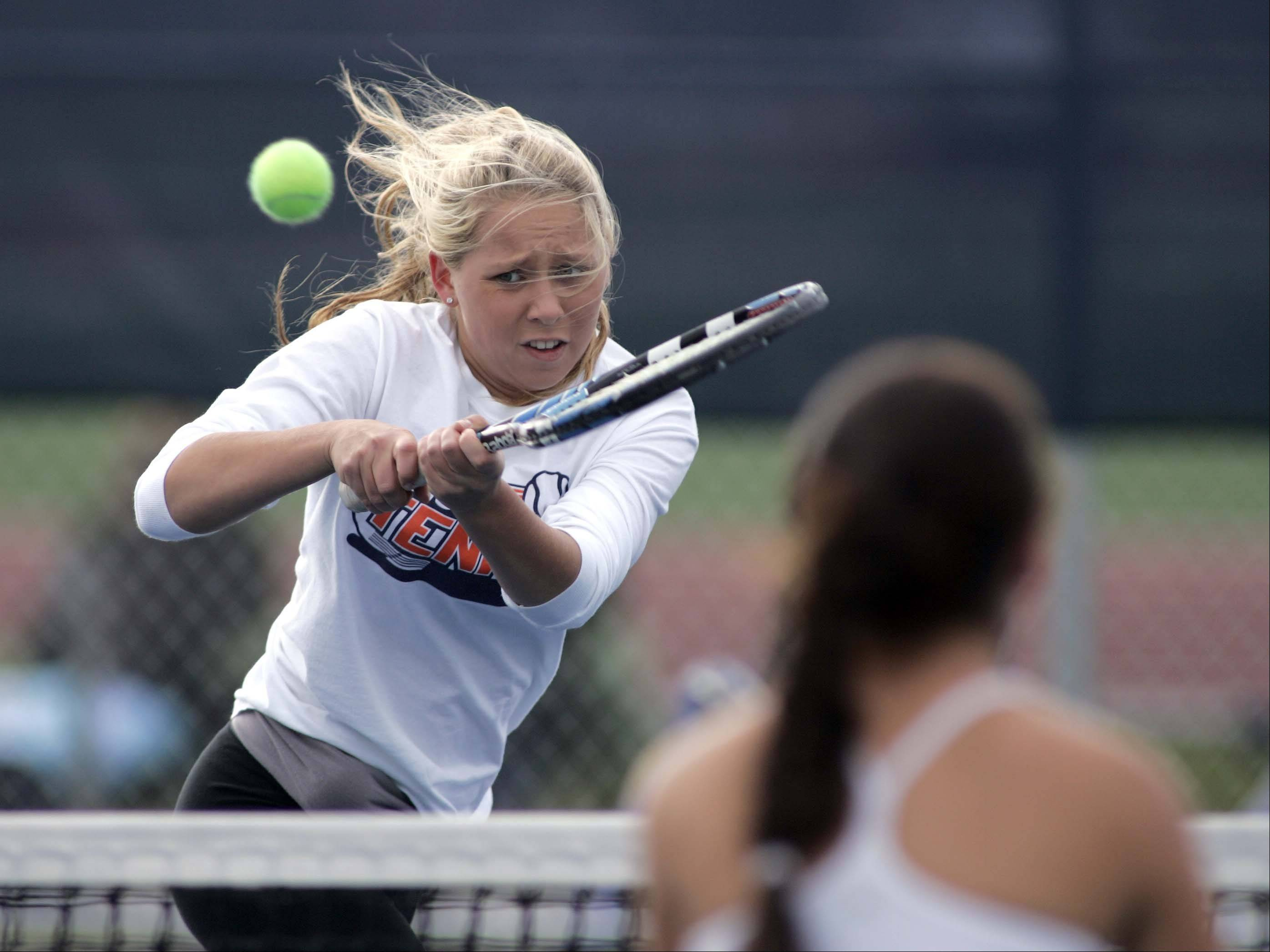 Buffalo Grove's Lauren Goggin competes in her doubles match against Chicago Latin during the IHSA girls state tennis finals at Buffalo Grove High School Thursday.