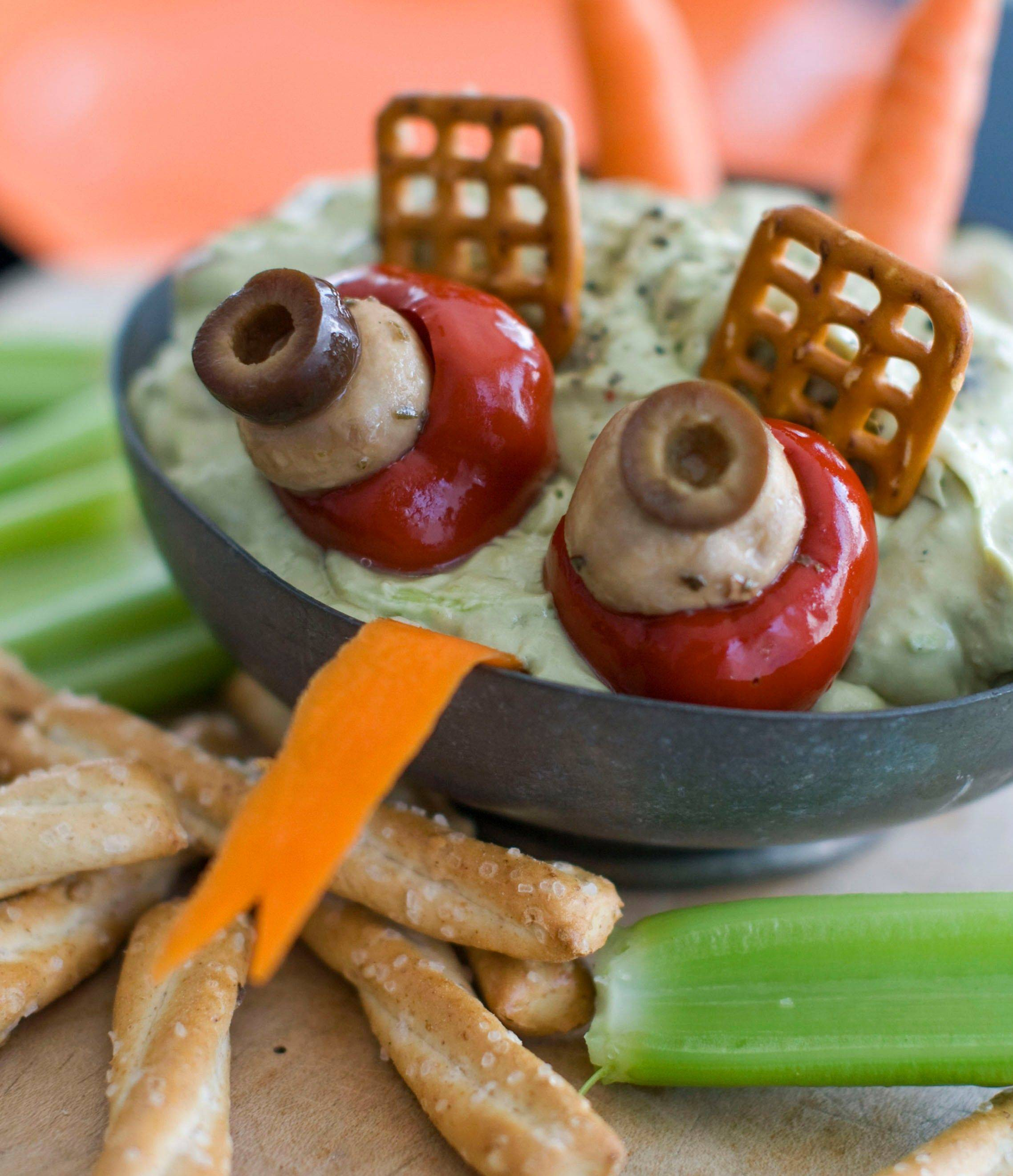 Halloween food, like this Creamy Swamp Dip, doesn't have to look pretty but should still be tasty.