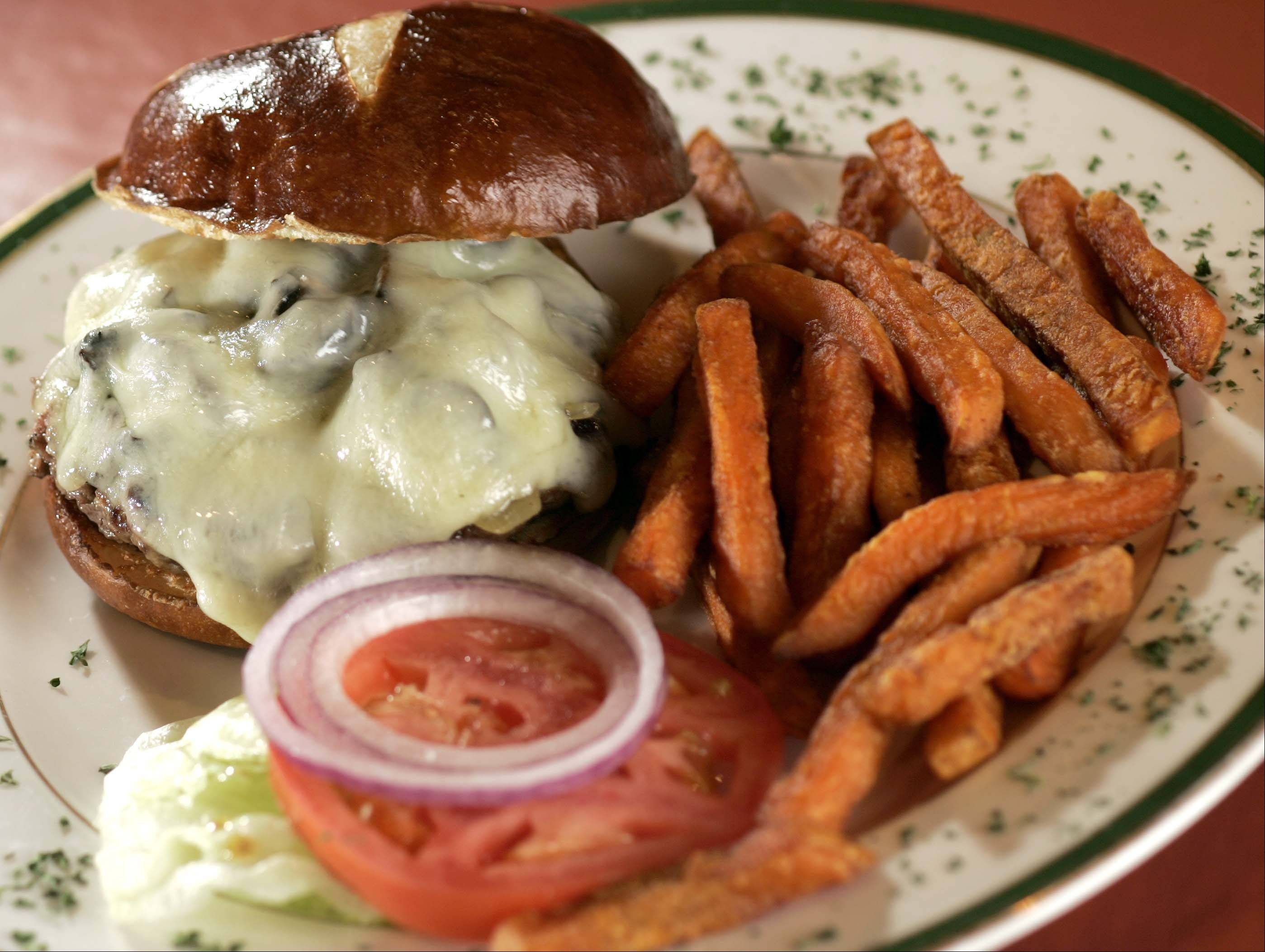 A mushroom and swiss burger is one of West End's sandwich options.