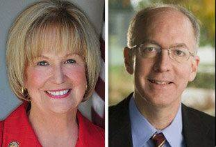 Republican Judy Biggert, left, opposes Democrat Bill Foster in the 11th Congressional District for the 2012 General Election.