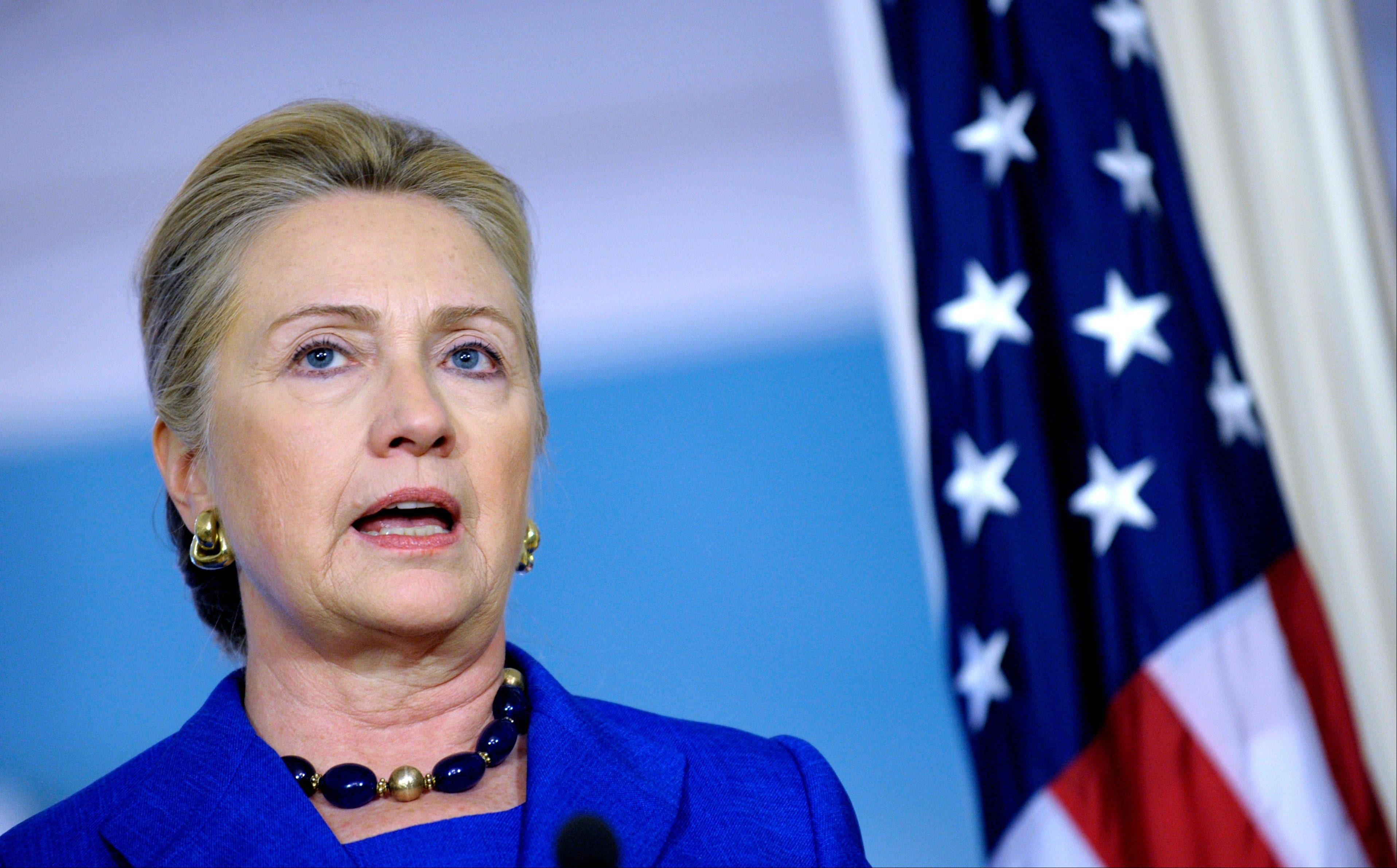 Secretary of State Hillary Rodham Clinton answers a reporter�s question on Libya during a joint news conference with Brazil�s Foreign Minister Antonion de Aguiar Patriota on Wednesday at the State Department in Washington.
