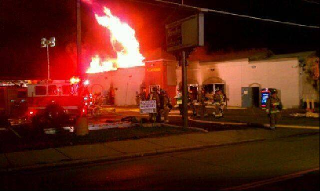 A fire Tuesday night at 2J�s Wine & Spirits on Elgin�s east side forced the business to close, said Elgin Police Cmdr. Glenn Theriault. The fire destroyed the roof and half of the walls, he said.