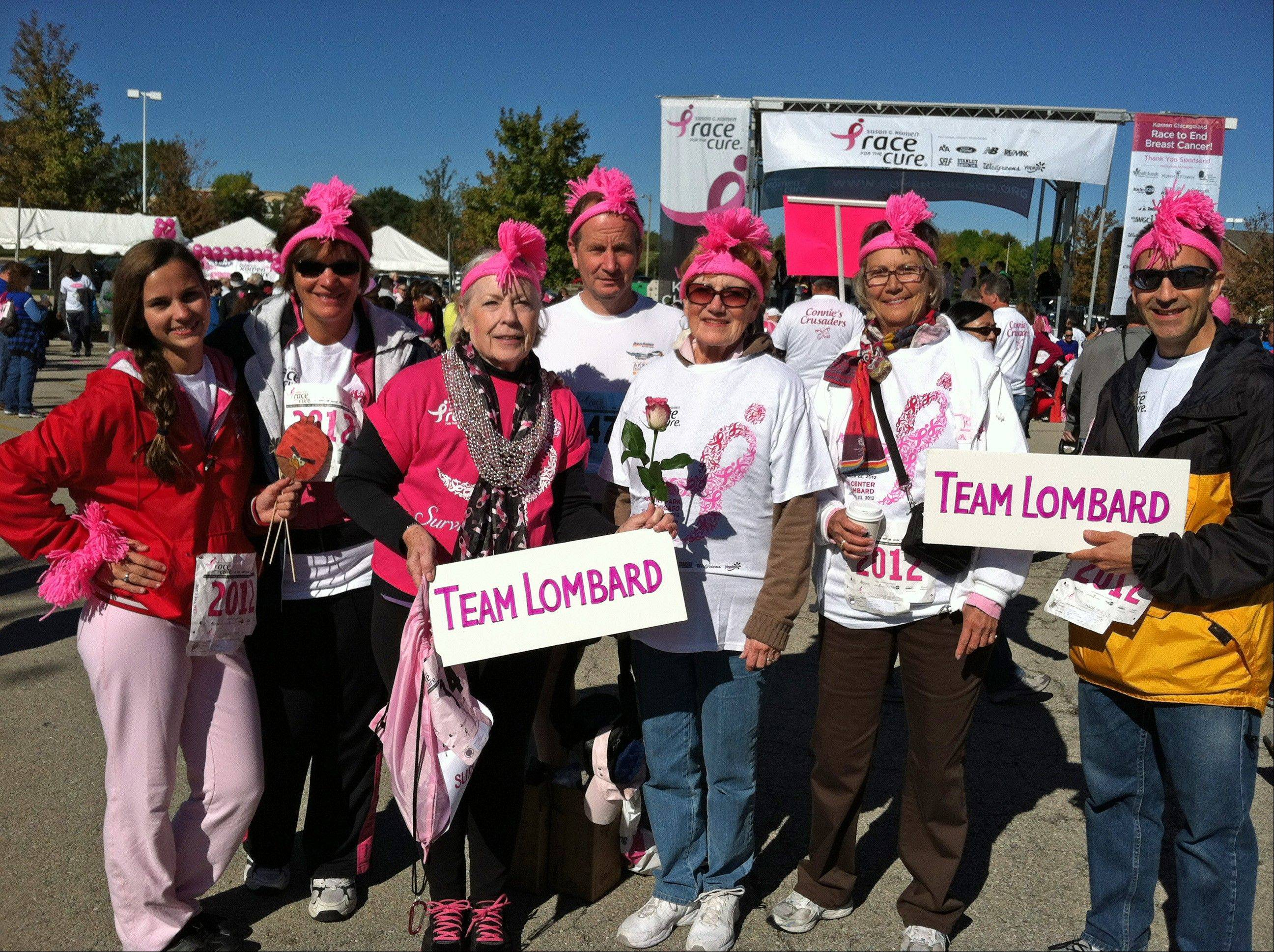 Team Lombard members Kendall Kott, Joelyn Kott, Marymae Meyer, Bill Heniff, Eileen Mueller, Rose Roth and Brian Diskin were among a group of 24 who raised $4,283.66 for the Susan G. Komen Race for the Cure Sunday, Sept. 23, in Lombard.