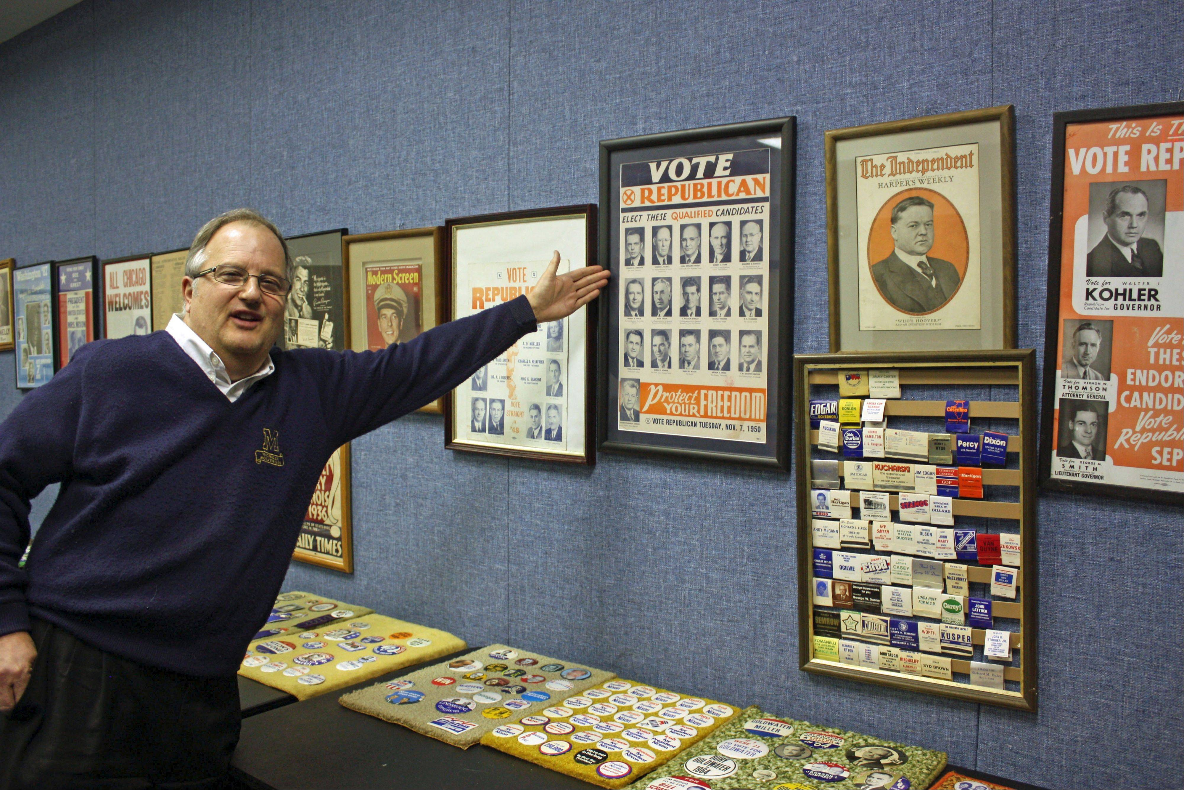 Lisle�s John Huff estimates his diverse collection has 5,000 pieces, ranging from local to national elections.