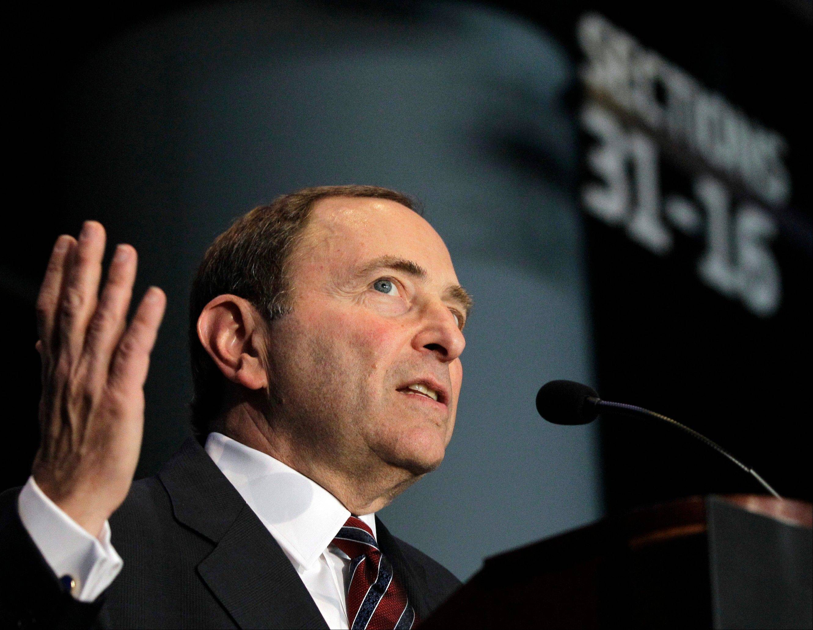 National Hockey League Commissioner Gary Bettman speaks Wednesday during a news conference in New York announcing that the Islanders hockey club will move from Nassau Veterans Memorial Coliseum in Uniondale, N.Y., to Brooklyn's Barclays Center starting in 2015.
