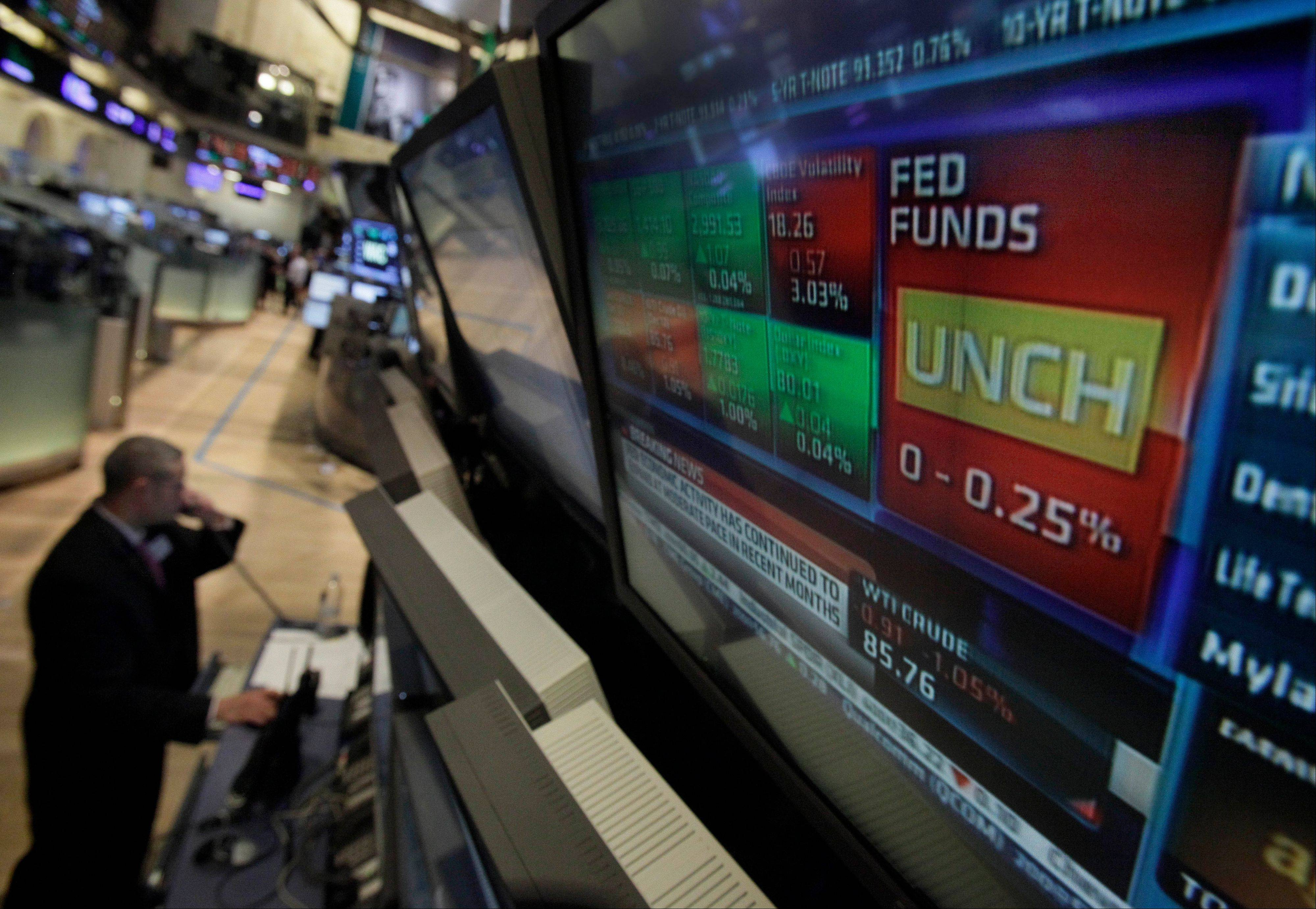 A television screen on the floor of the New York Stock Exchange shows the decision of the Federal Reserve Wednesday. The Fed took no new action after a two-day policy meeting.