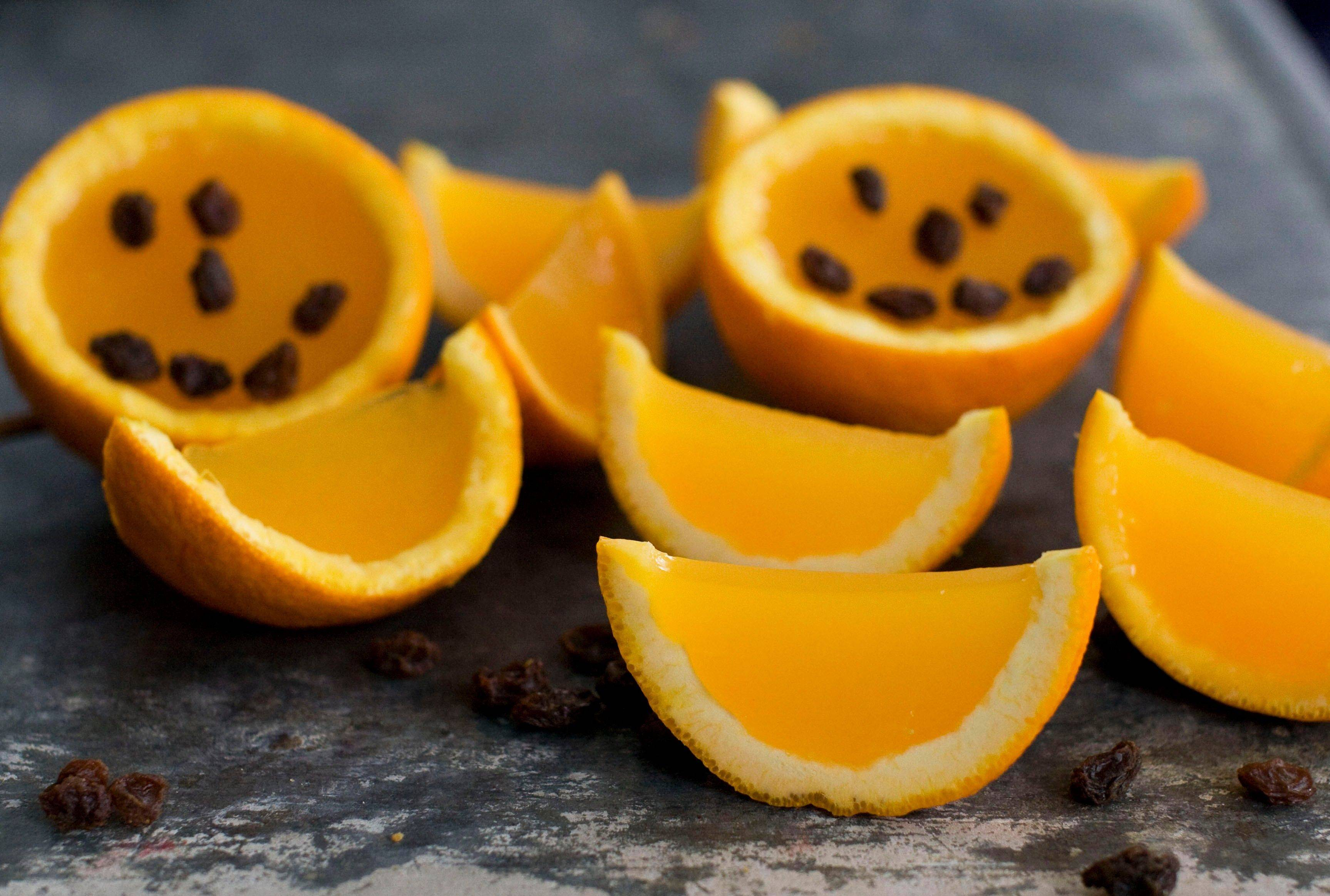 For a healthy Halloween treat, try Jiggly Orange halves and wedges.