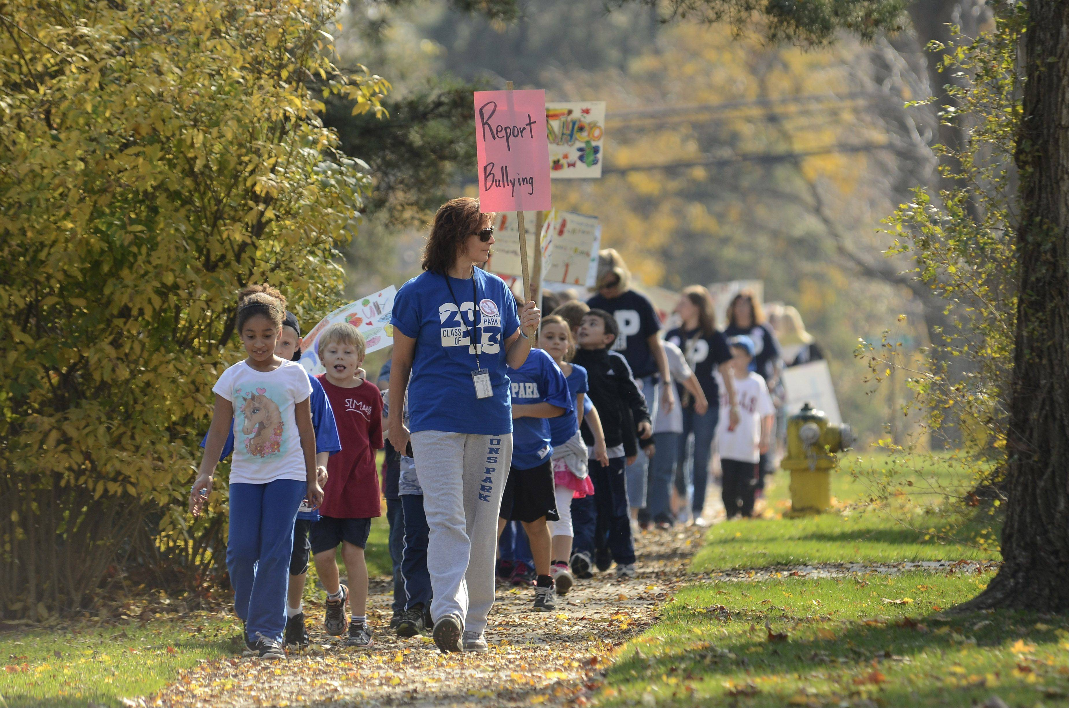 Mount Prospect School District 57 is holding its first Stand Up to Bullying Week. As part of the week's events, students and staff members of Lions Park School marched from the school to downtown Mount Prospect.