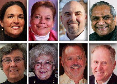 Top row, from left: Michele Aavang, Diane Evertsen, Ryan Heuser and Jayant Kadakia. Bottom row: Mary McCann, Ersel Schuster, Larry Smith and Scott Summers.