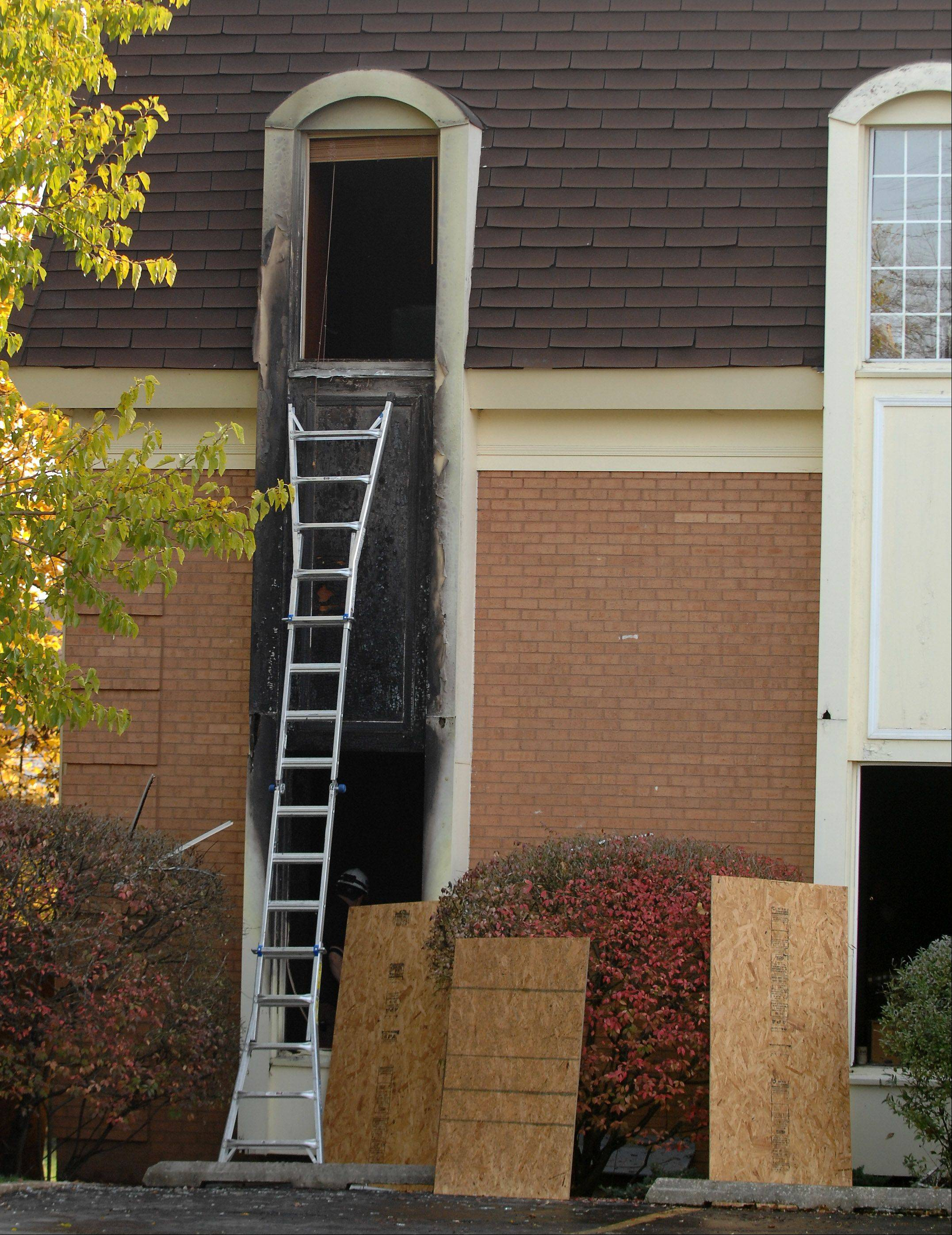 Exterior damage was visible on the northwest corner of the State Bank of Geneva after Wednesday's early morning fire.