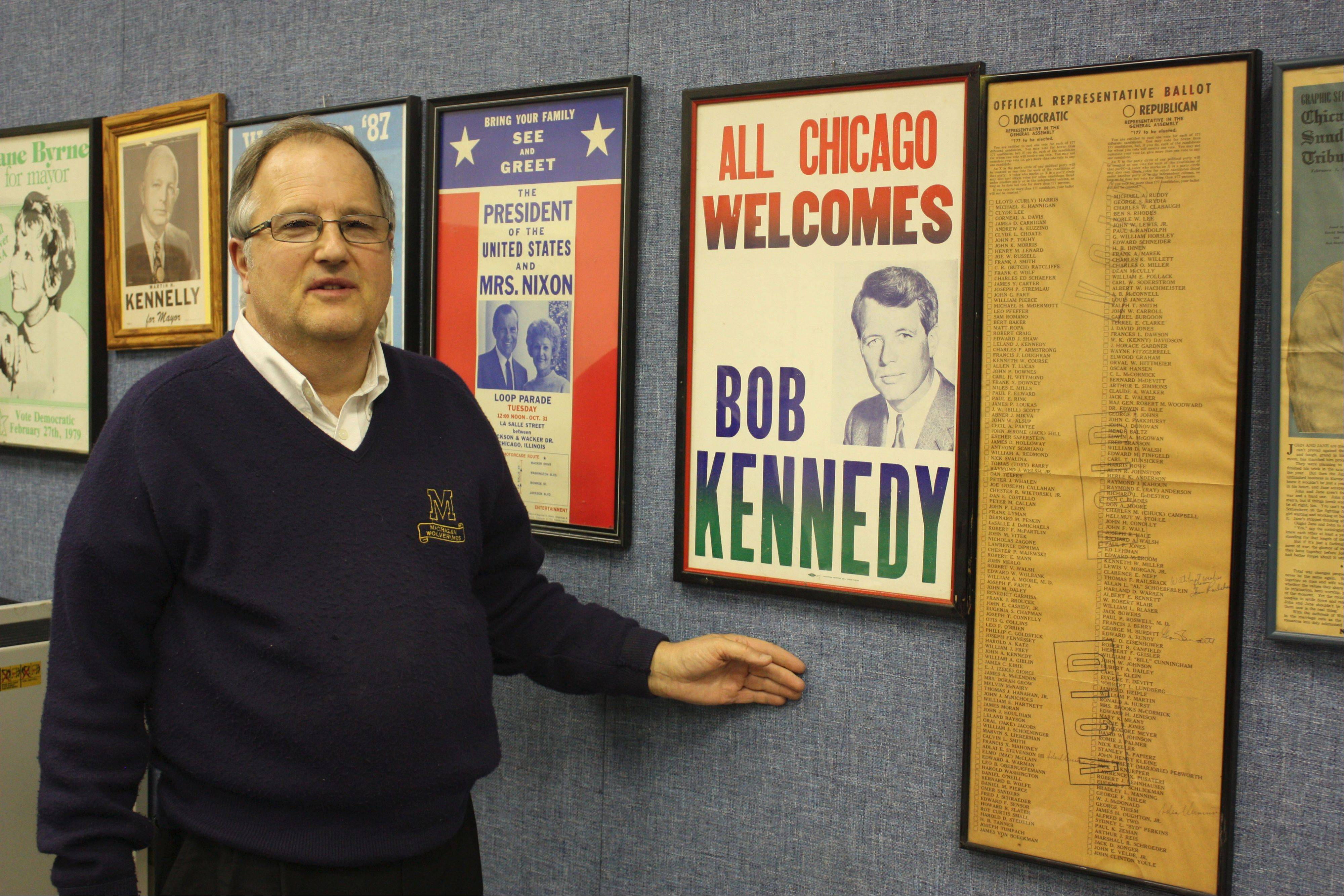 Lisle's John Huff has been collecting political memorabilia for more than 50 years. His eclectic collection includes campaign buttons, posters, matchbook covers, jewelry, autographed photos and even some bobbleheads.