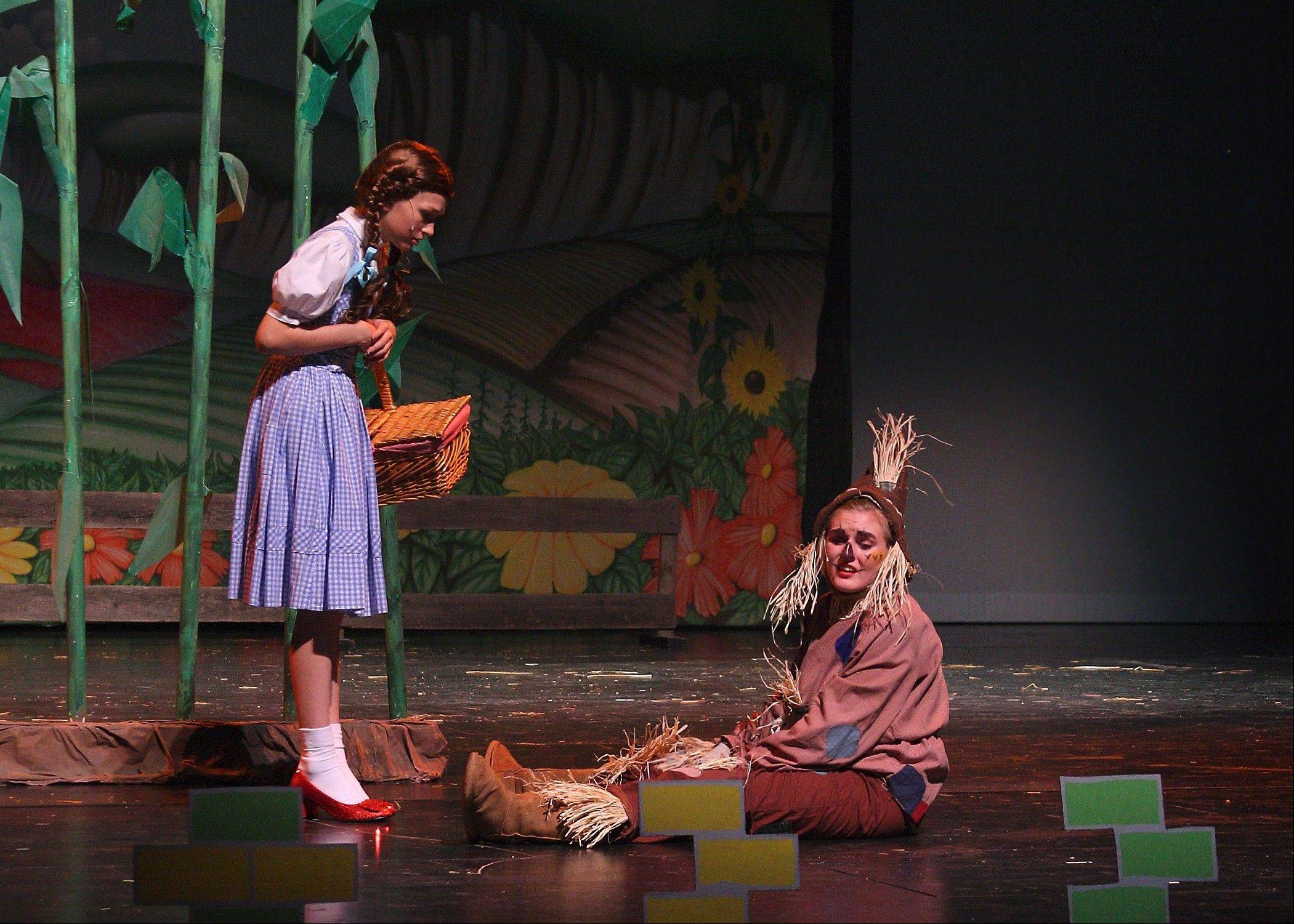 Shannon McCoy, who plays Dorothy; and Kayla Nicosia, the Scarecrow, are friends both on and offstage.