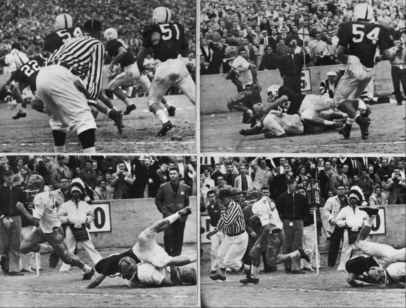Notre Dame's Dick Lynch runs for the game's only touchdown during the fourth quarter against Oklahoma in Norman, Okla. Notre Dame has had some great victories in its 125 years of playing college football, yet none was as improbable as the 7-0 victory at second-ranked Oklahoma in 1957. That victory ended the Sooners' NCAA-record winning streak at 47 games and came just a season after the Sooners beat the Irish 40-0 in South Bend, still the most lopsided home loss in Notre Dame history.