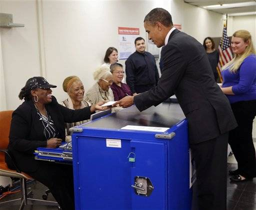 "President Barack Obama has cast his ballot early, returning to Chicago to drum up support for early voting. The president says, ""all across the country we're seeing a lot of early voting."" He says it was ""really convenient"" but jokes, ""I can't tell you who I voted for."""