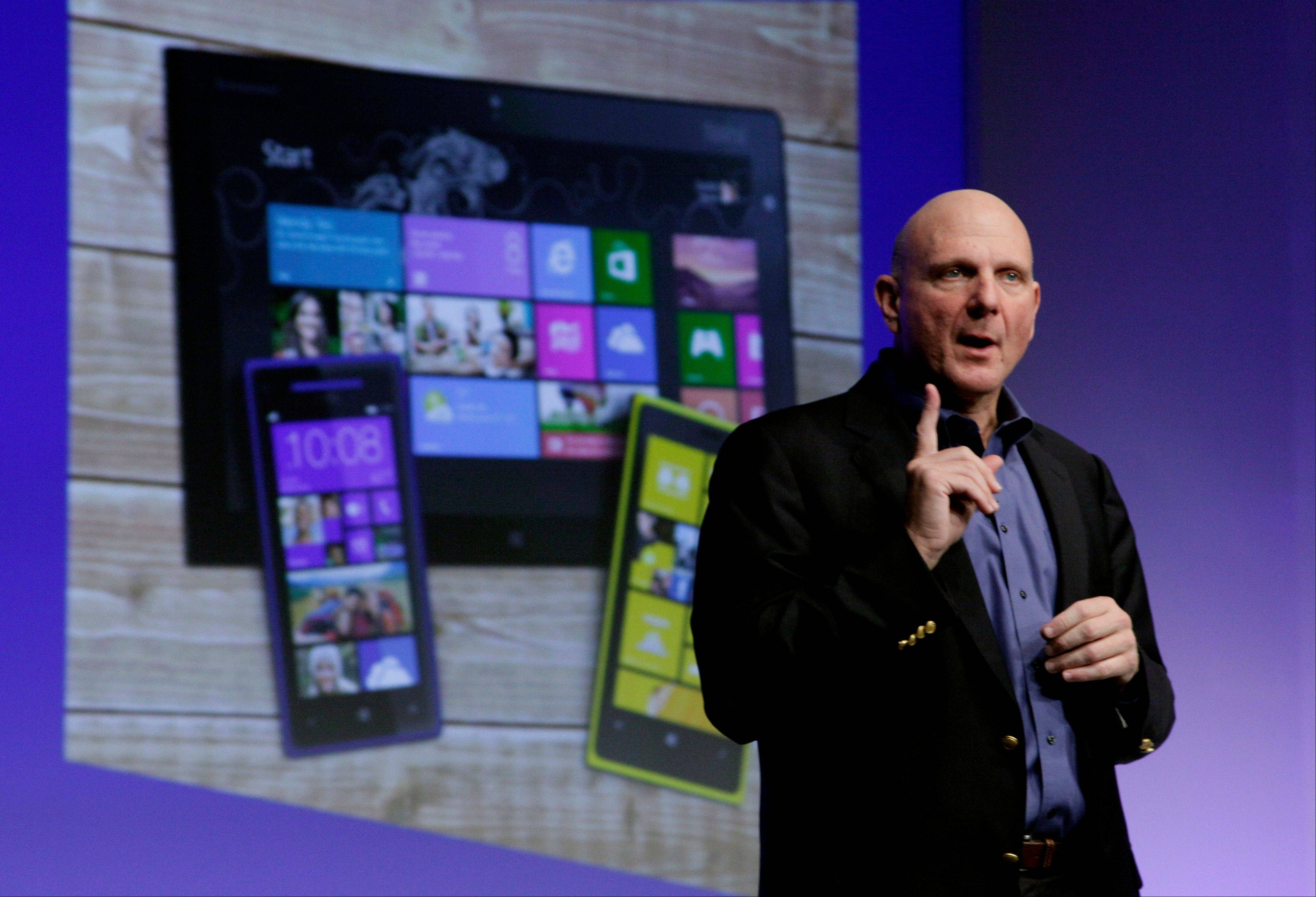 Microsoft CEO Steve Ballmer gives his presentation at the launch of Microsoft Windows 8 in New York on Thursday. Windows 8 is the most dramatic overhaul of the personal computer market's dominant operating system in 17 years.
