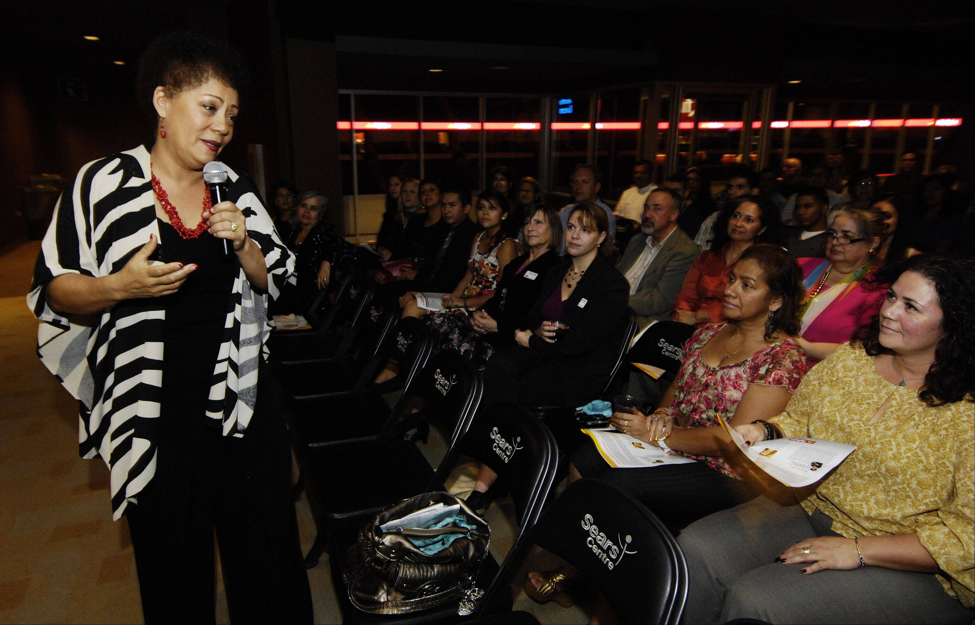 Author and researcher Dr. Lourdes Ferrer speaks during the Reflejos Reflecting Excellence Awards at the Sears Centre in Hoffman Estates.